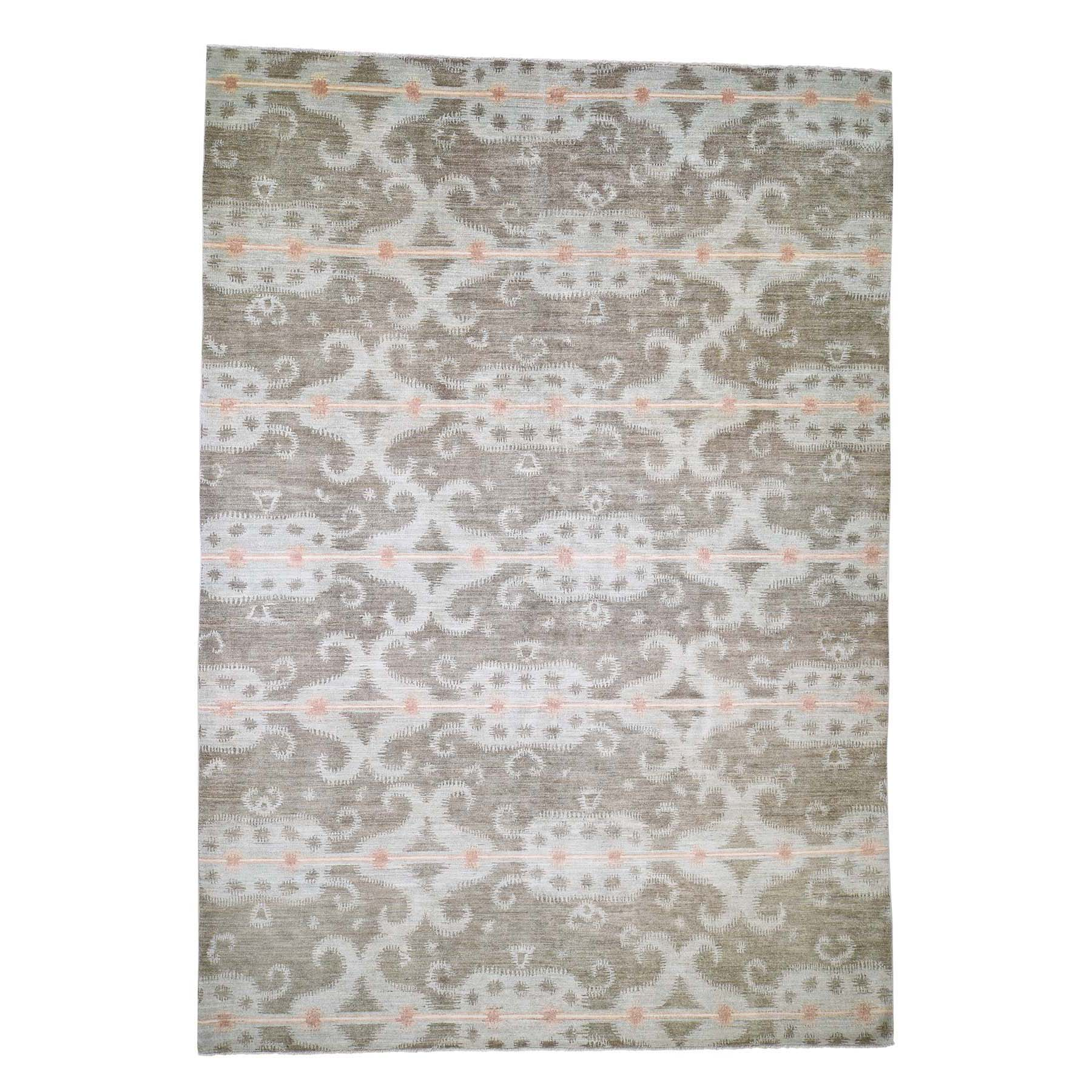 Eclectic and Bohemian Collection Hand Knotted Green Rug No: 0190270