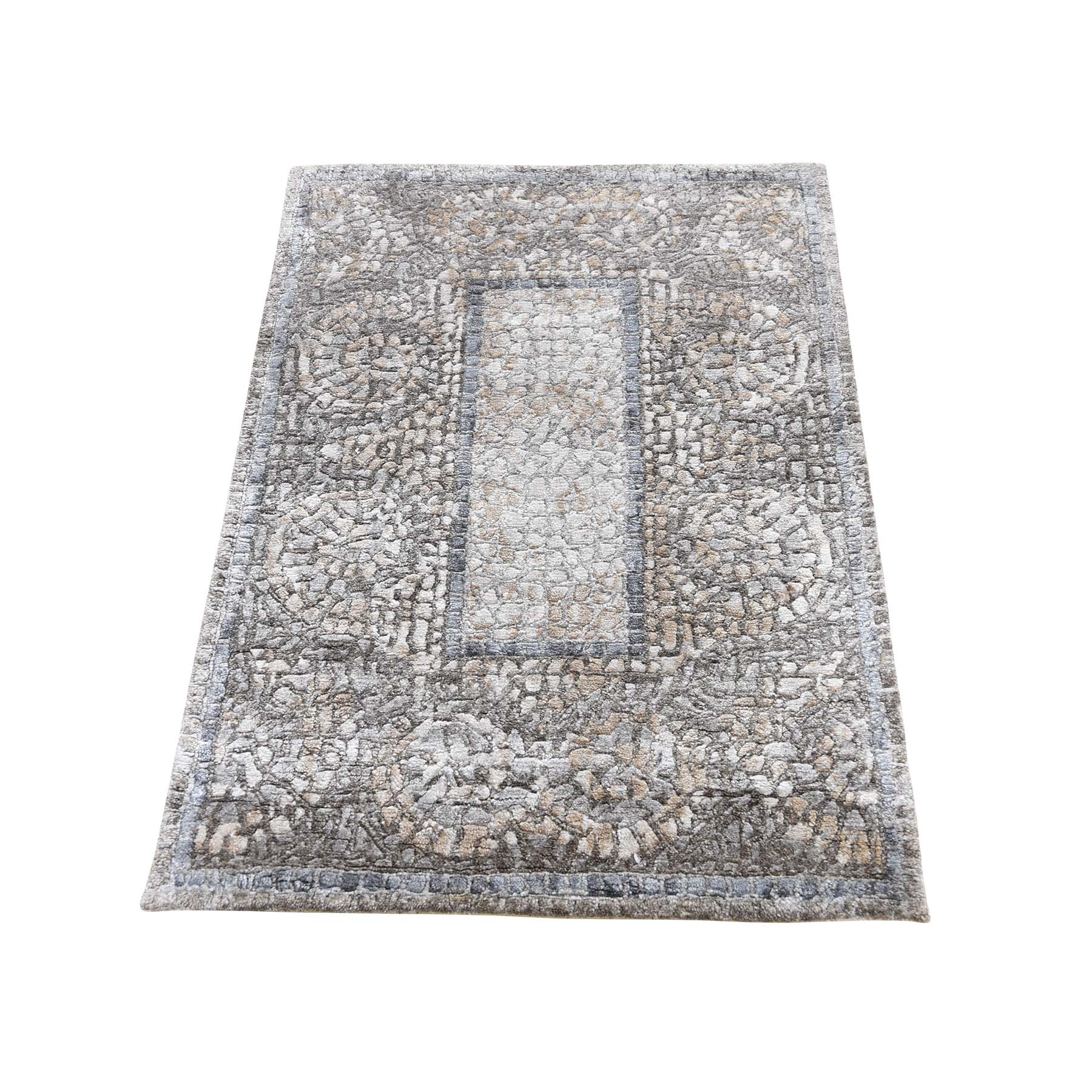 Mid Century Modern Collection Hand Knotted Grey Rug No: 0190568