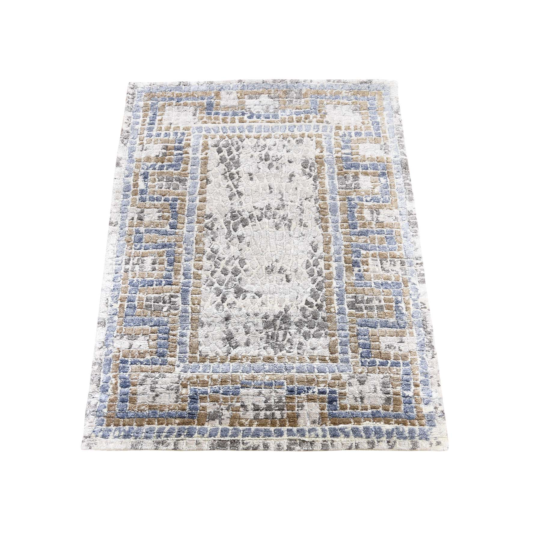 Mid Century Modern Collection Hand Knotted Ivory Rug No: 0190544