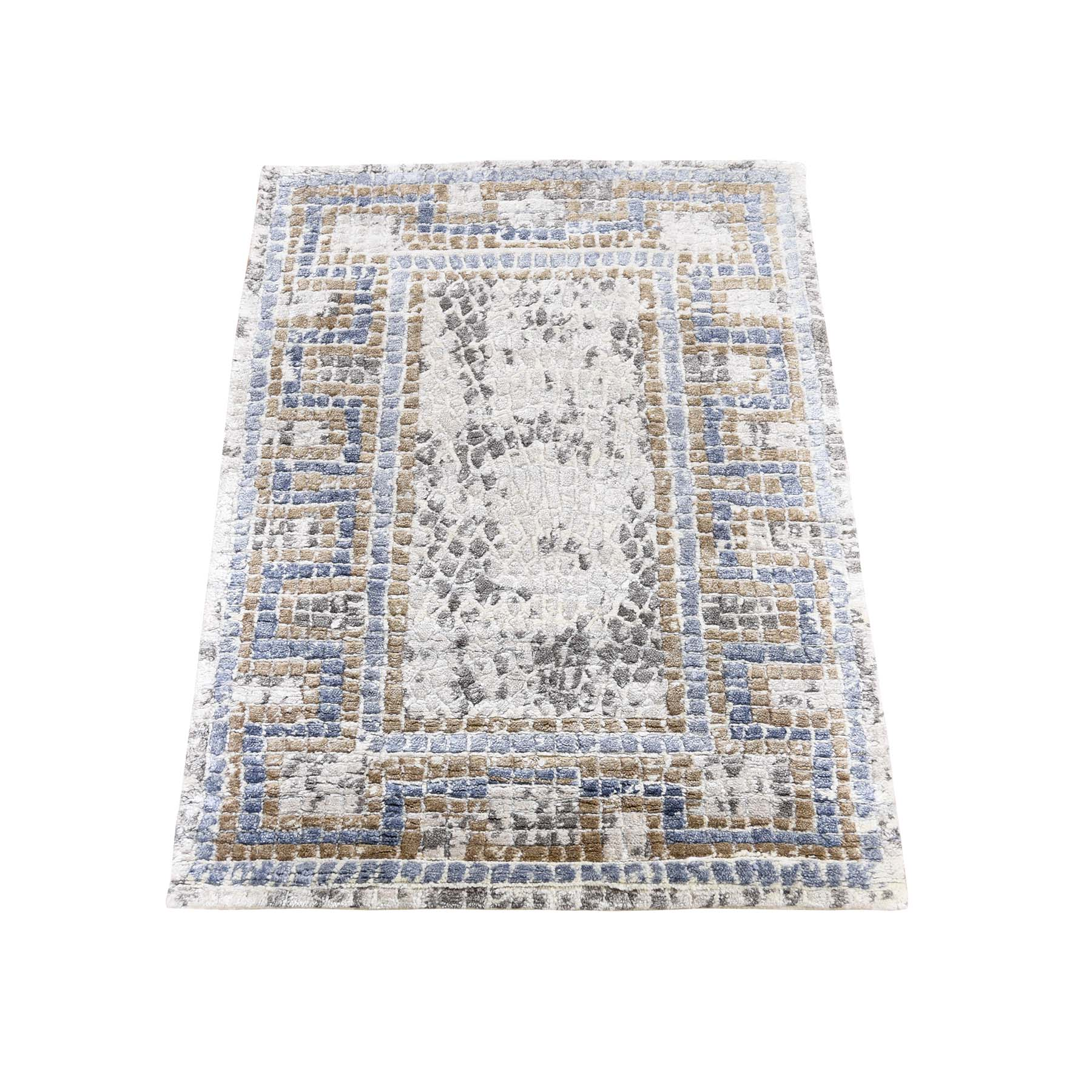 Mid Century Modern Collection Hand Knotted Ivory Rug No: 0190540