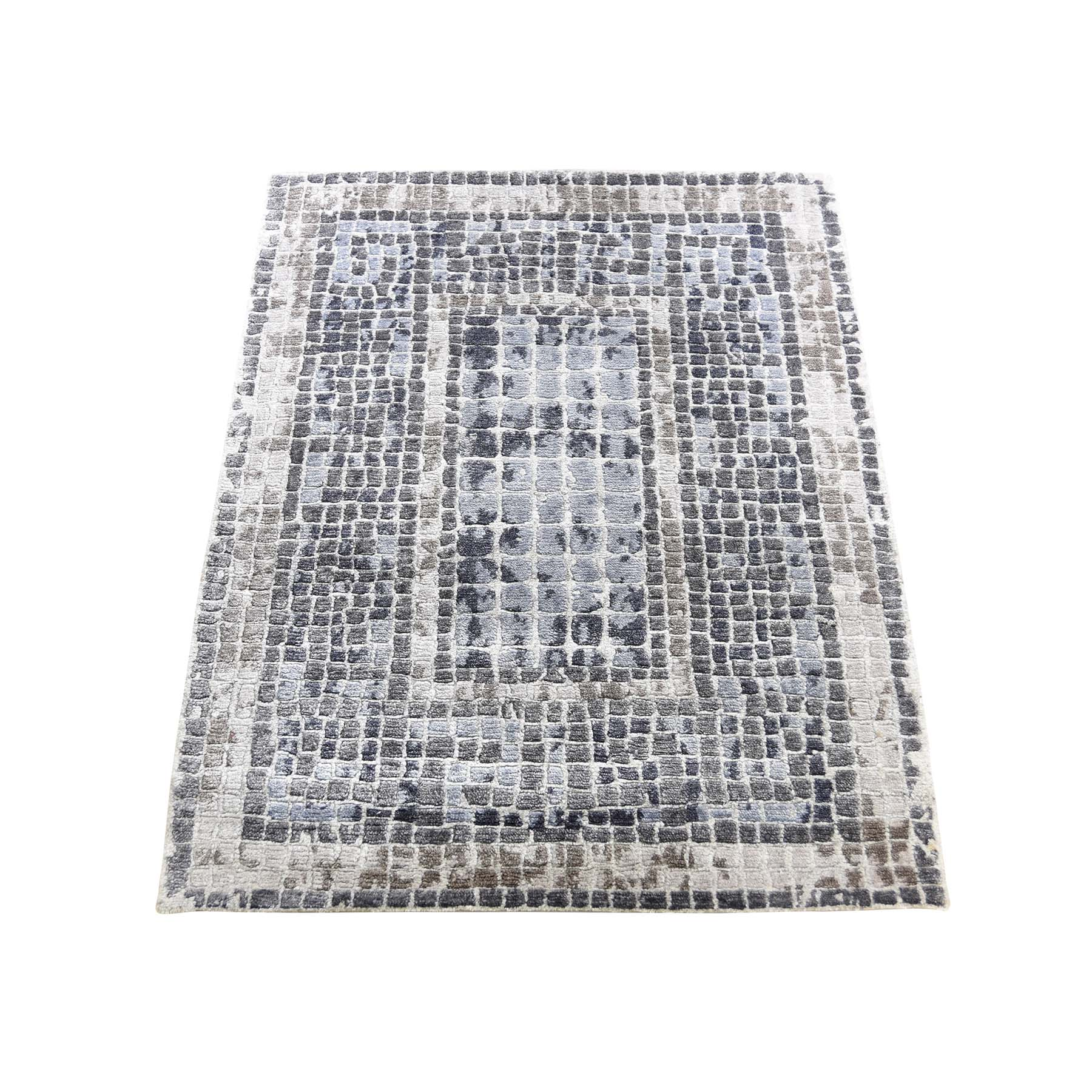 Mid Century Modern Collection Hand Knotted Grey Rug No: 0190532