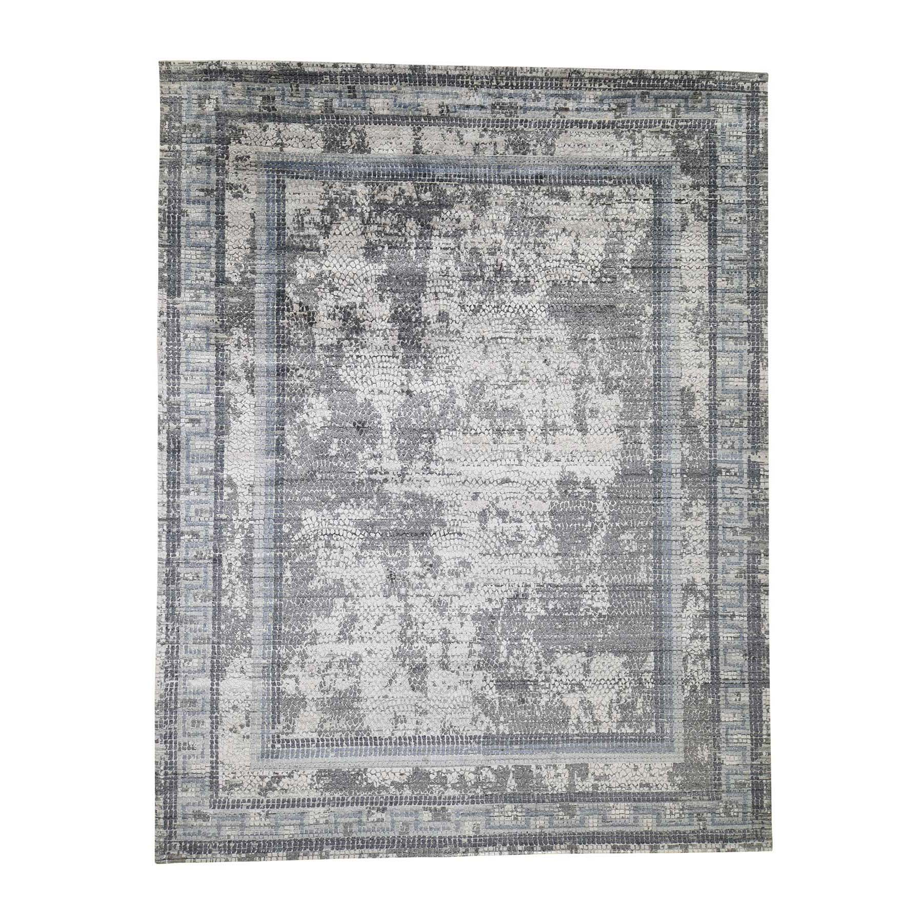 Mid Century Modern Collection Hand Knotted Grey Rug No: 0190558