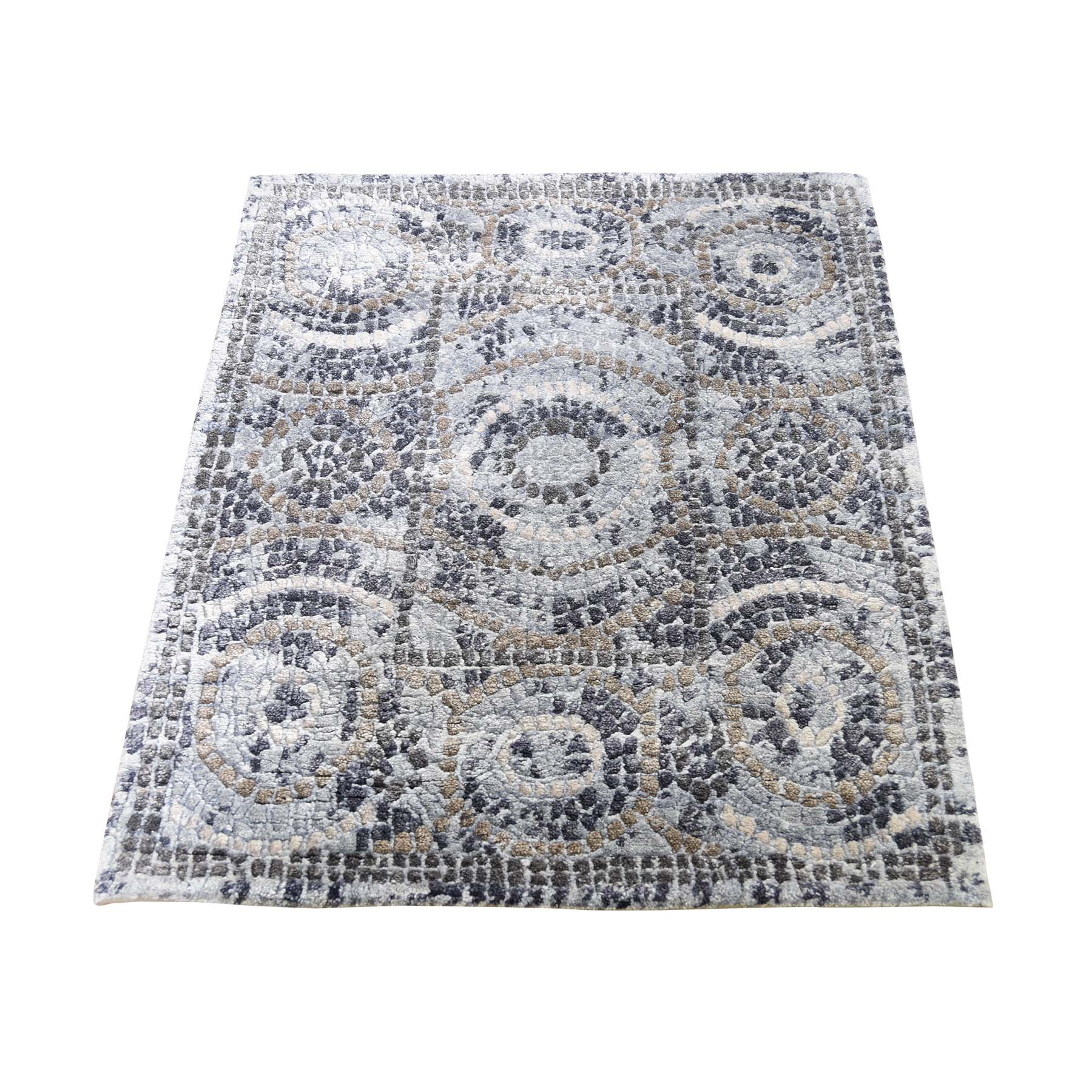 Mid Century Modern Collection Hand Knotted Blue Rug No: 0190548
