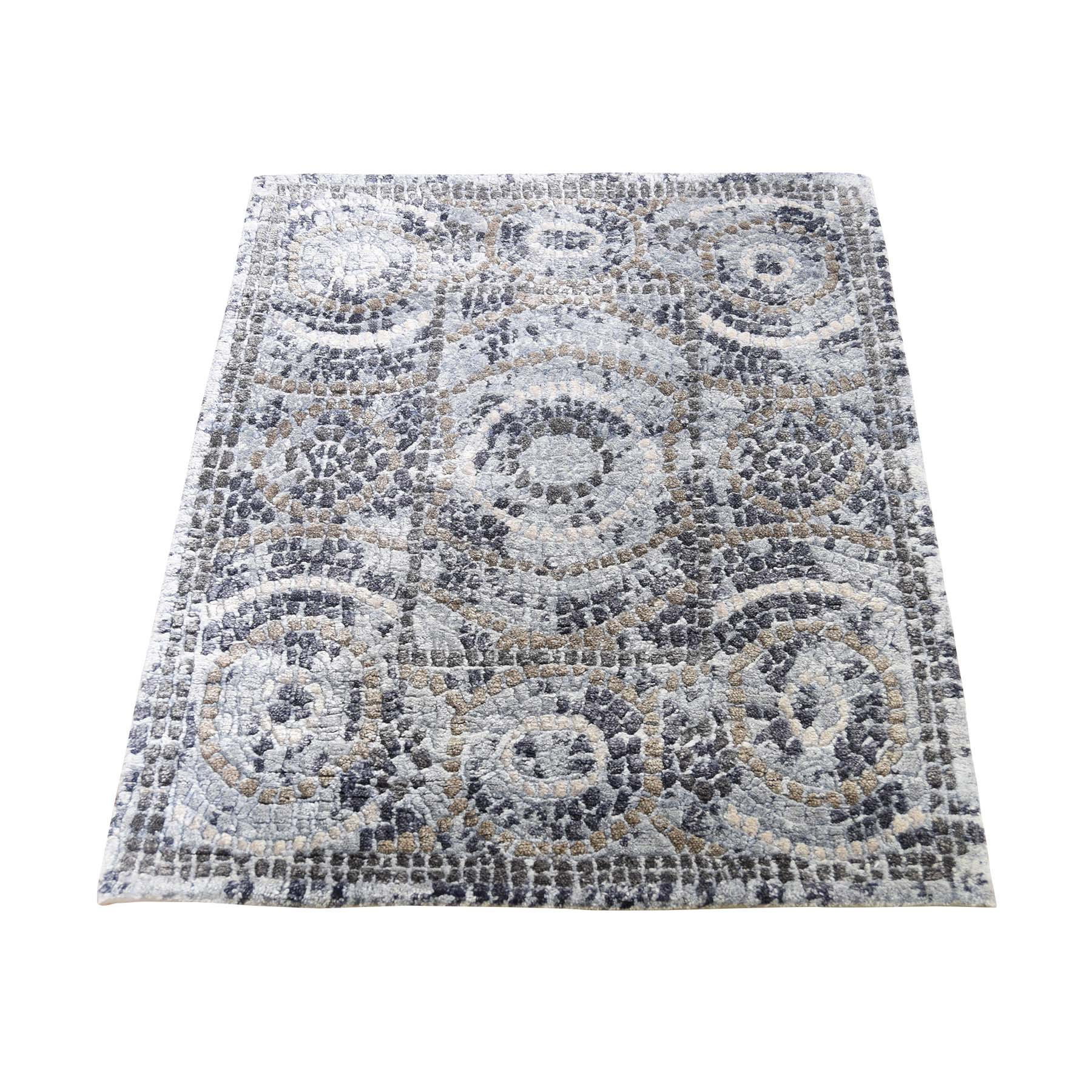 Mid Century Modern Collection Hand Knotted Blue Rug No: 0190550