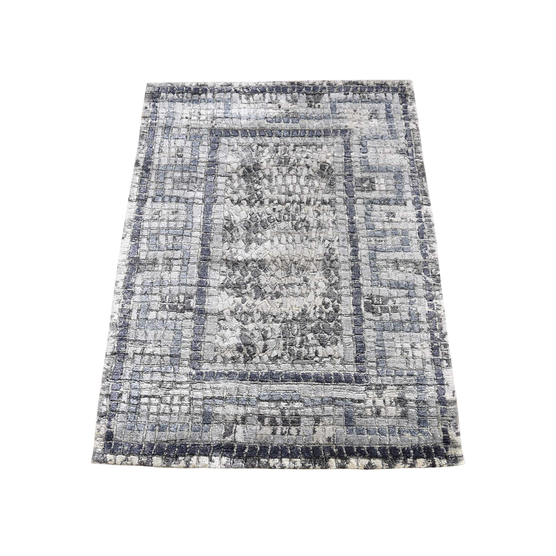 Mid Century Modern Collection Hand Knotted Grey Rug No: 0190560