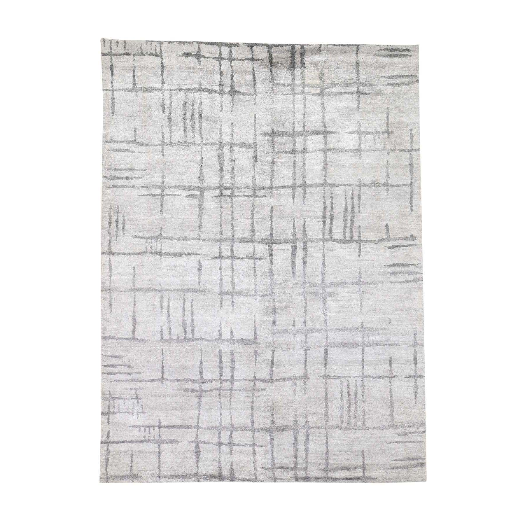Mid Century Modern Collection Hand Knotted Grey Rug No: 190636