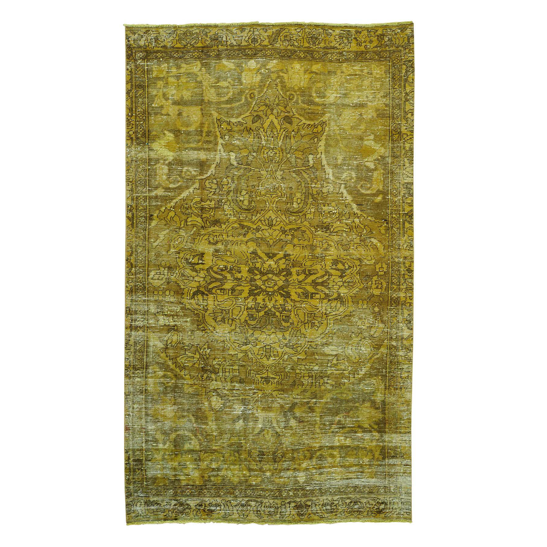 Fetneh Collection And Vintage Overdyed Collection Hand Knotted Yellow Rug No: 0155632
