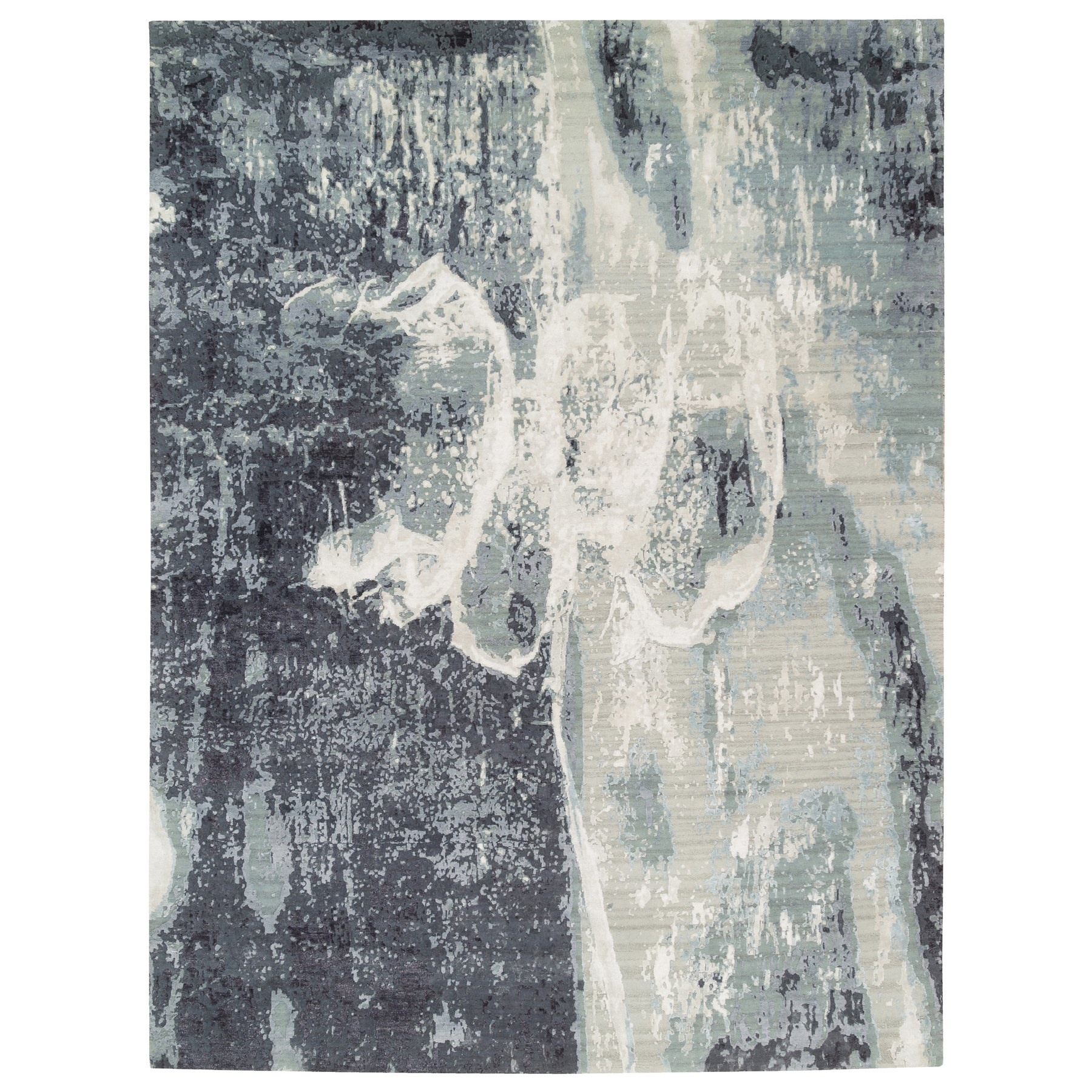 Mid Century Modern Collection Hand Knotted Black Rug No: 1125678