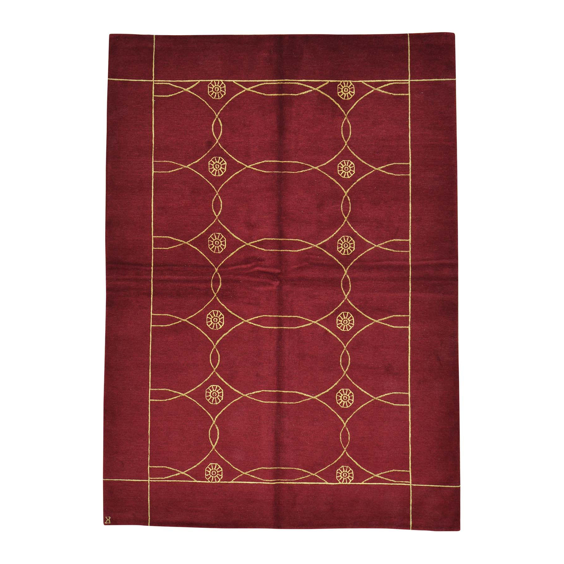Mid Century Modern Collection Hand Knotted Red Rug No: 0157436