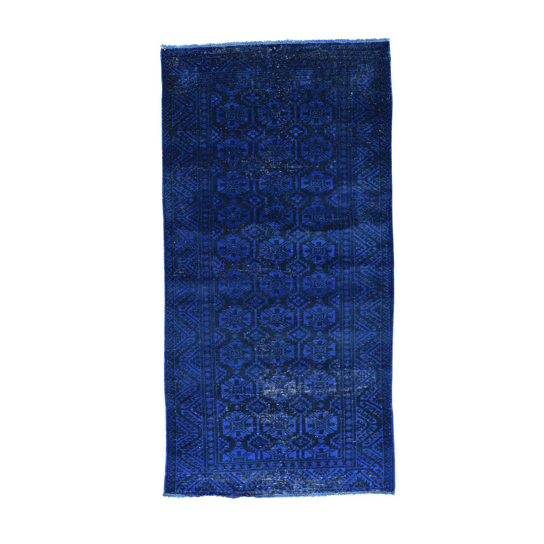 Fetneh Collection And Vintage Overdyed Collection Hand Knotted Blue Rug No: 161252