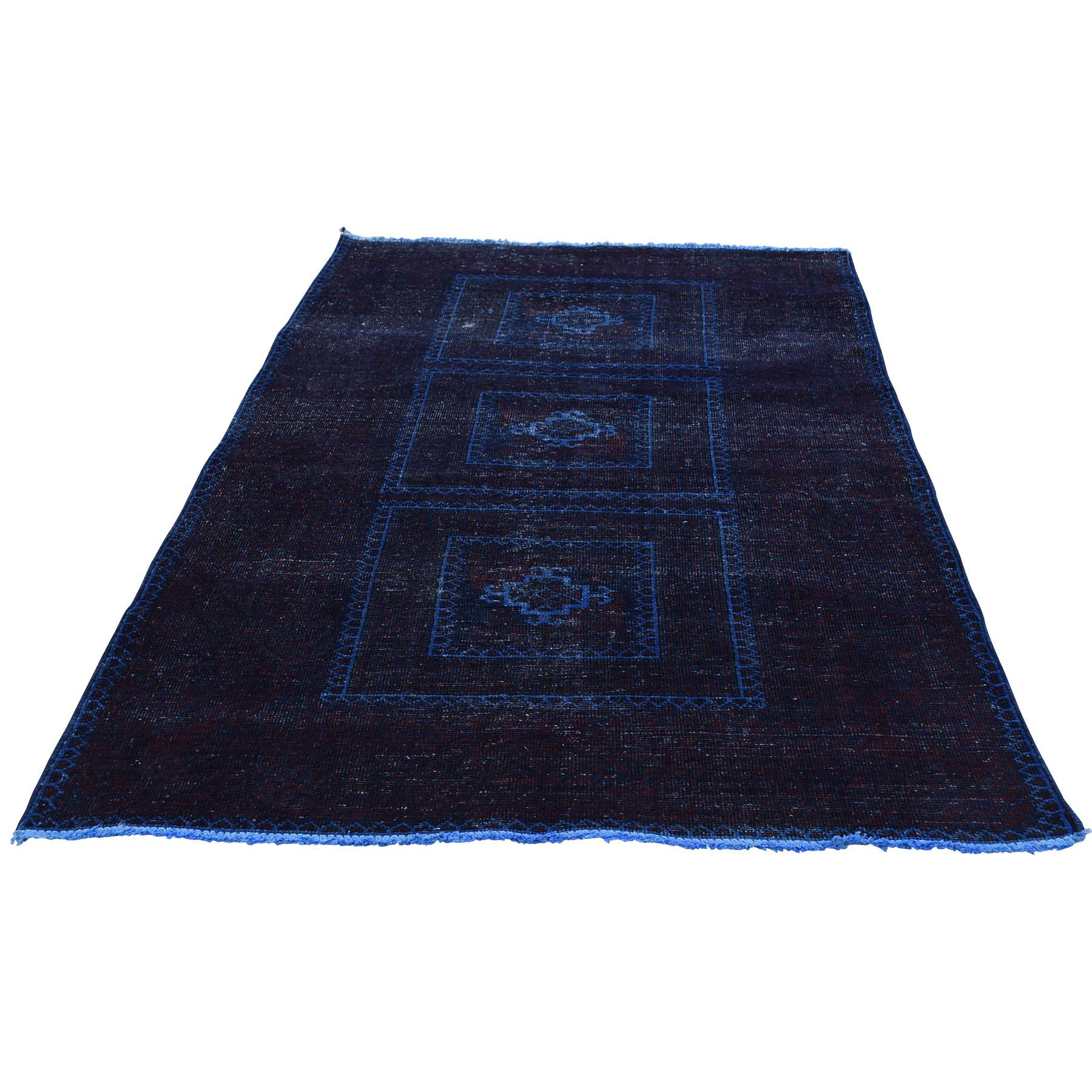 Fetneh Collection And Vintage Overdyed Collection Hand Knotted Blue Rug No: 168994