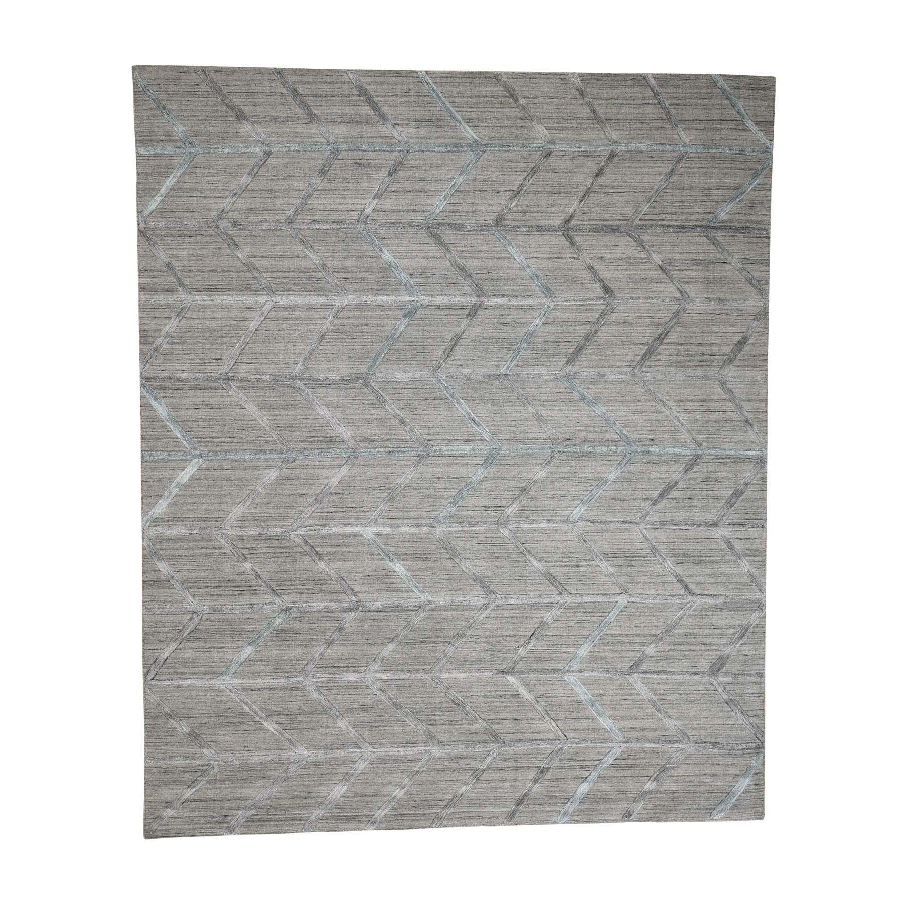 Mid Century Modern Collection Hand Loomed Grey Rug No: 0179068