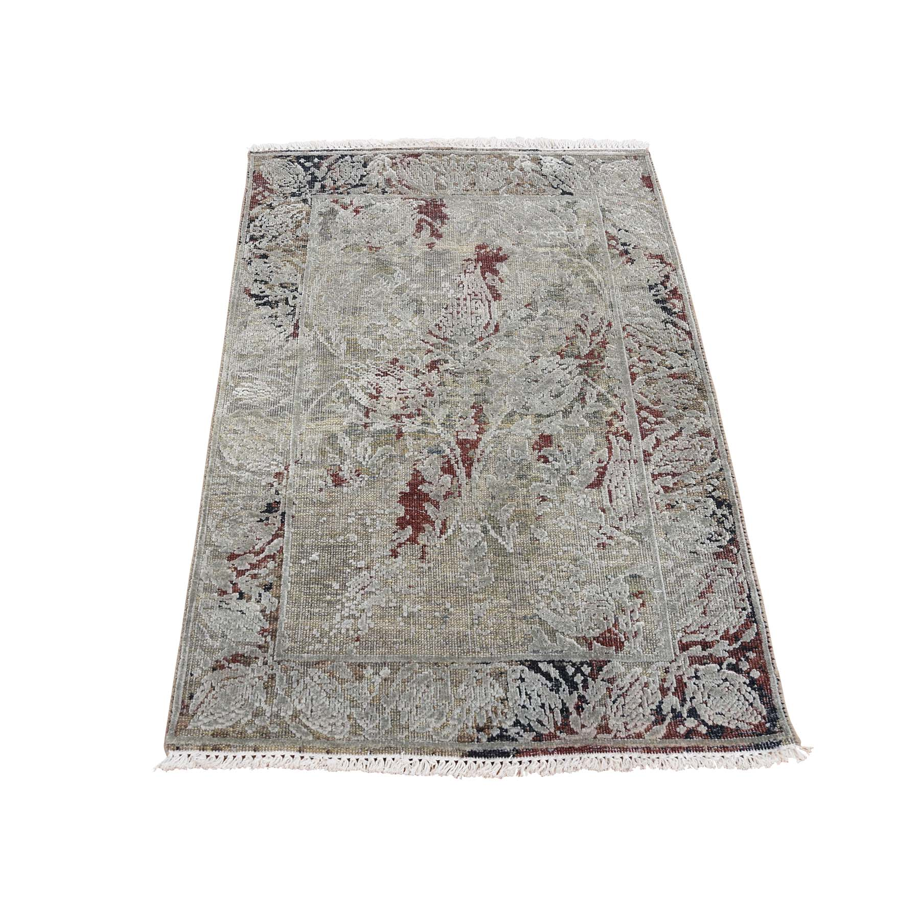 Mid Century Modern Collection Hand Knotted Brown Rug No: 0179486