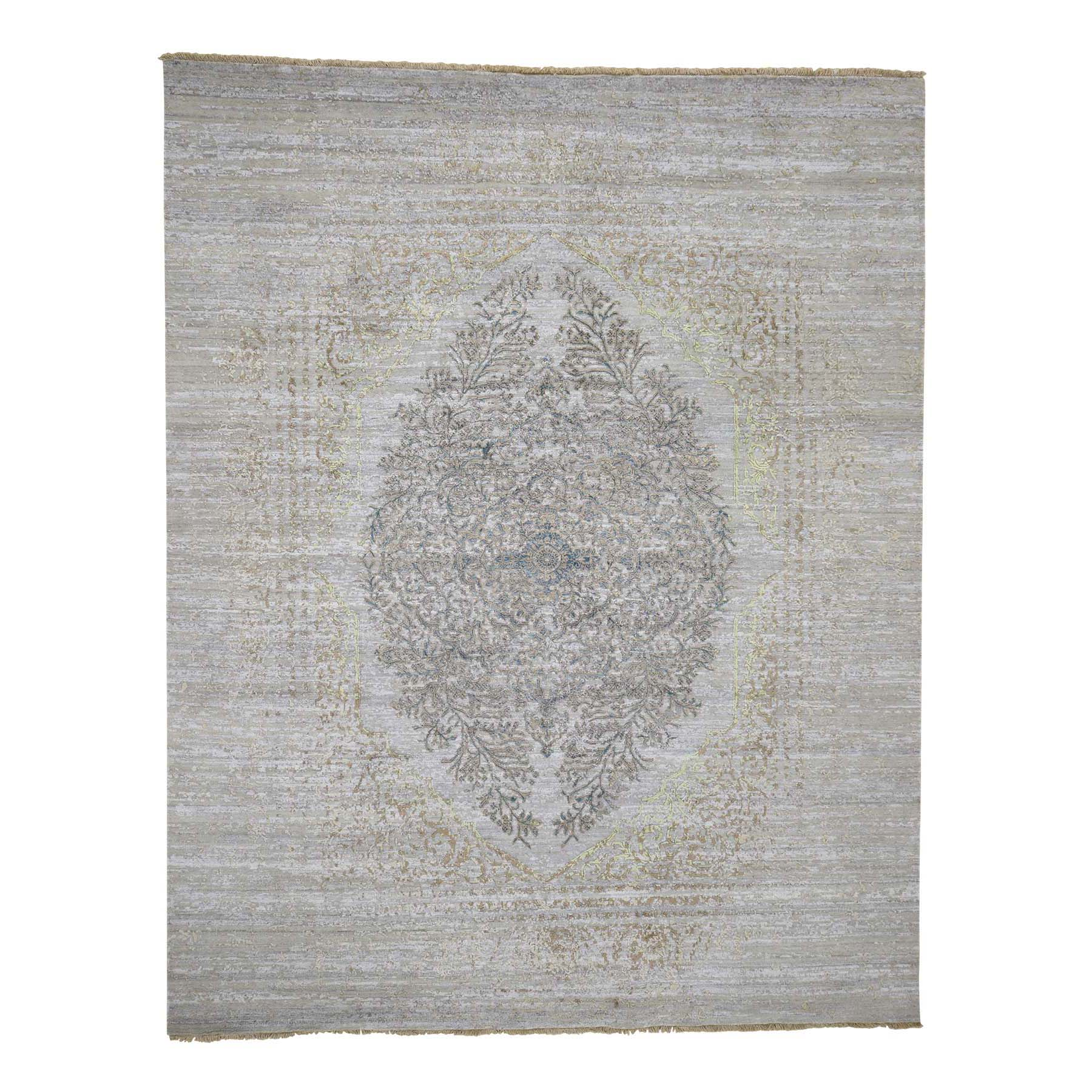 Mid Century Modern Collection Hand Knotted Beige Rug No: 0182452