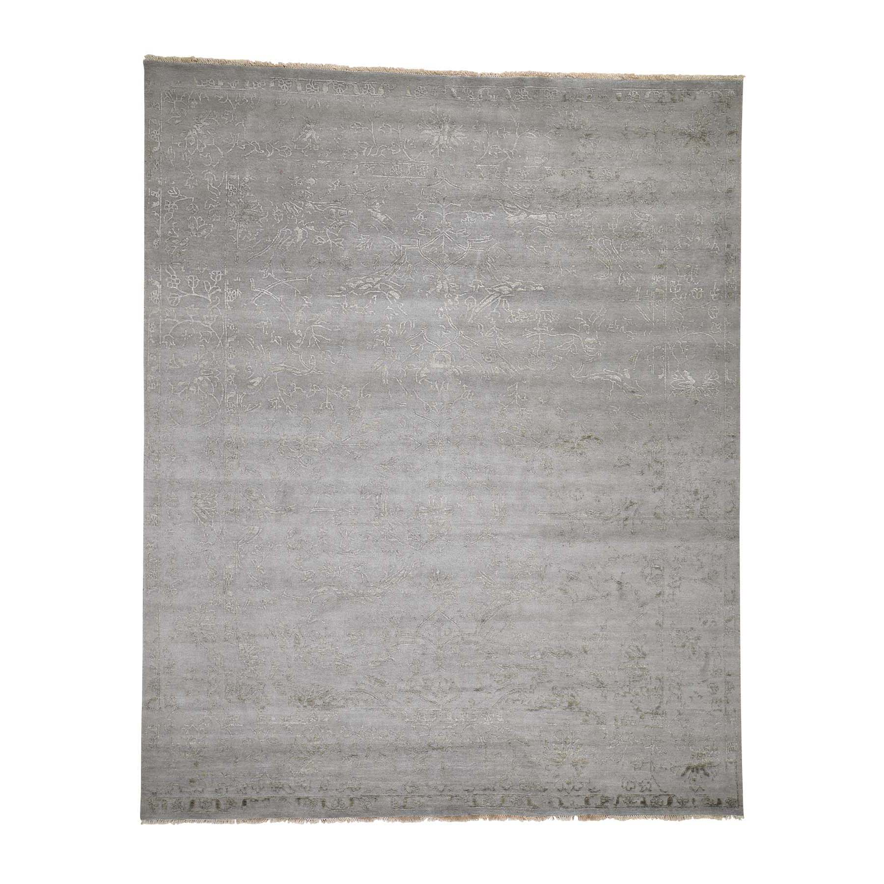 Mid Century Modern Collection Hand Knotted Grey Rug No: 0186450