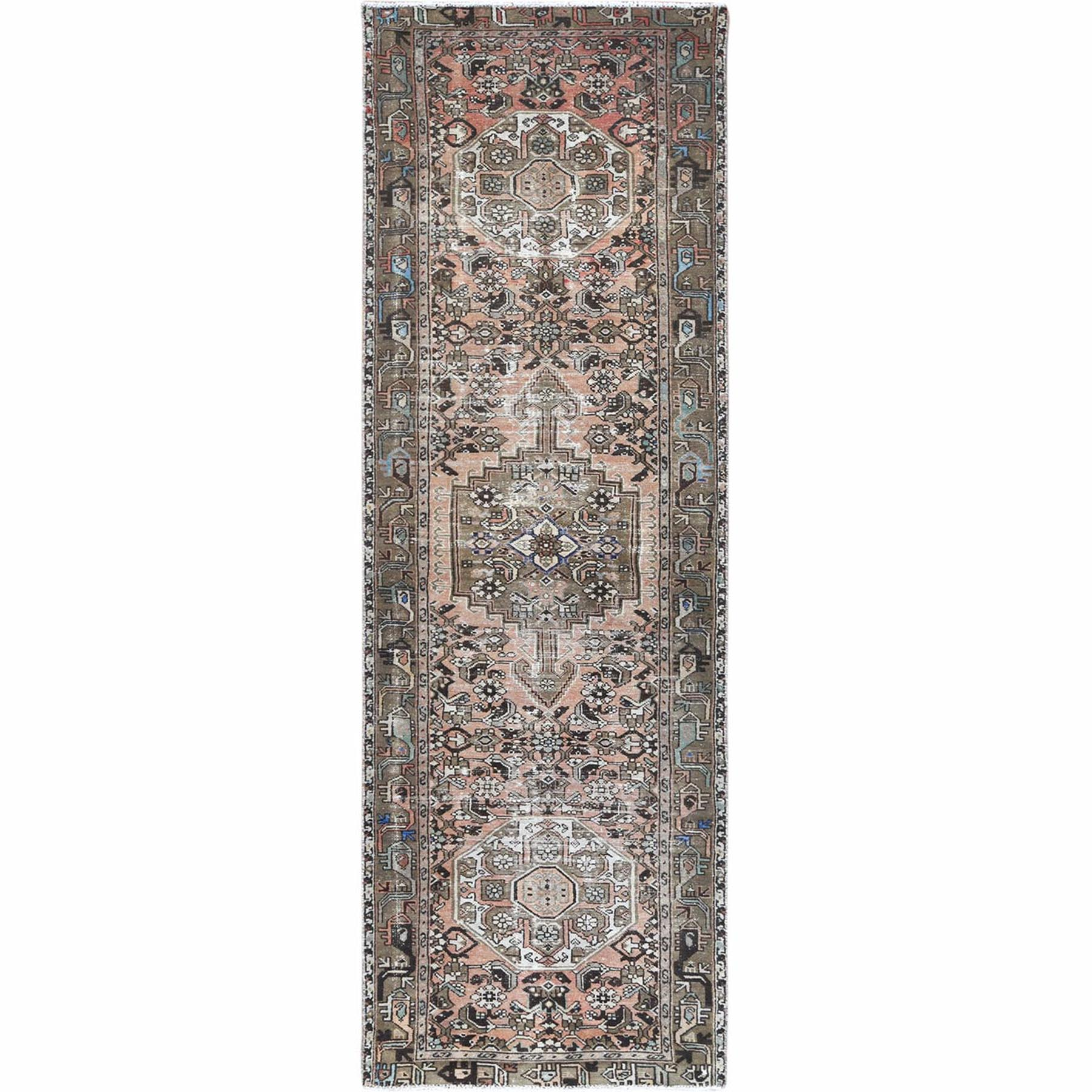 Fetneh Collection And Vintage Overdyed Collection Hand Knotted Brown Rug No: 1121958
