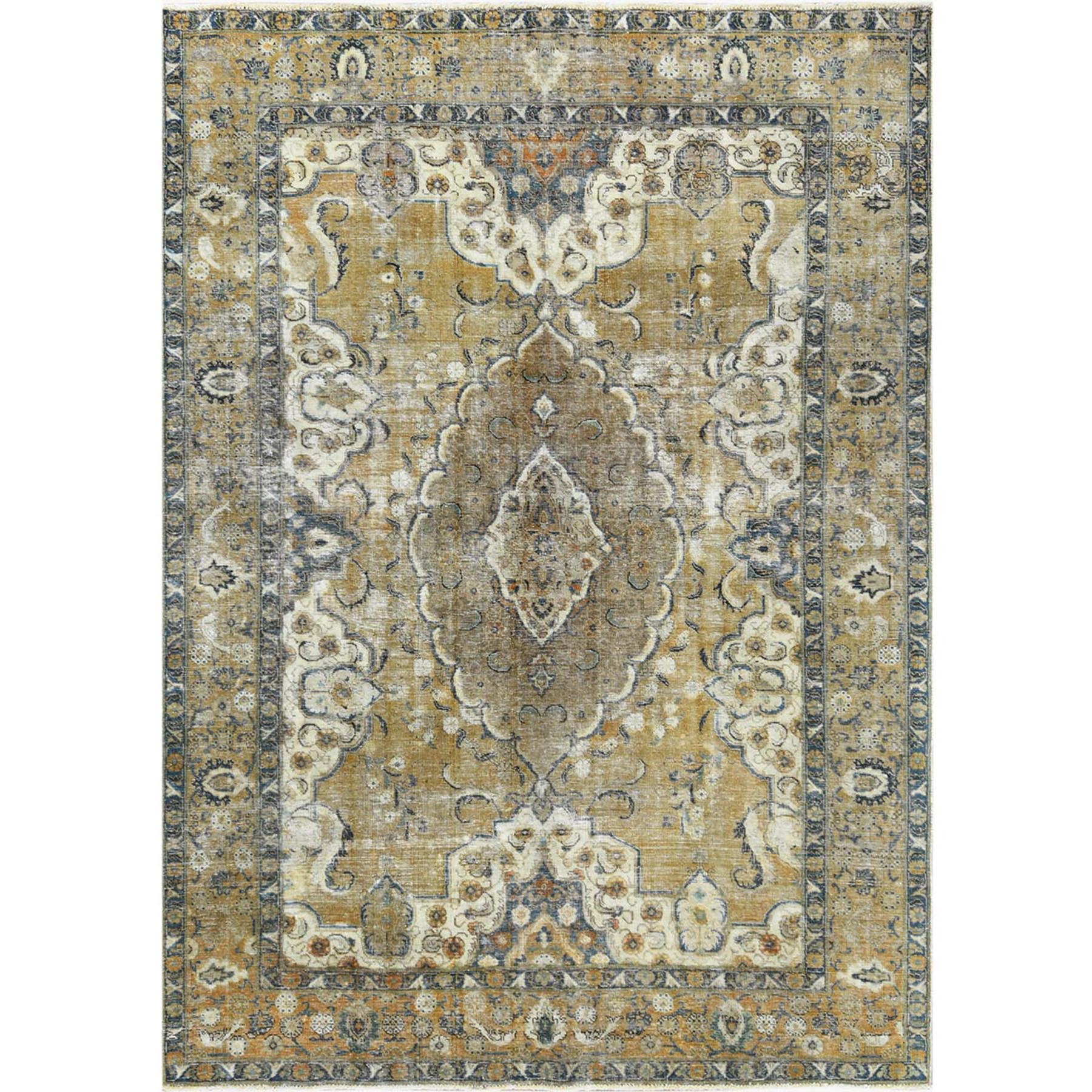 Fetneh Collection And Vintage Overdyed Collection Hand Knotted Yellow Rug No: 1122612