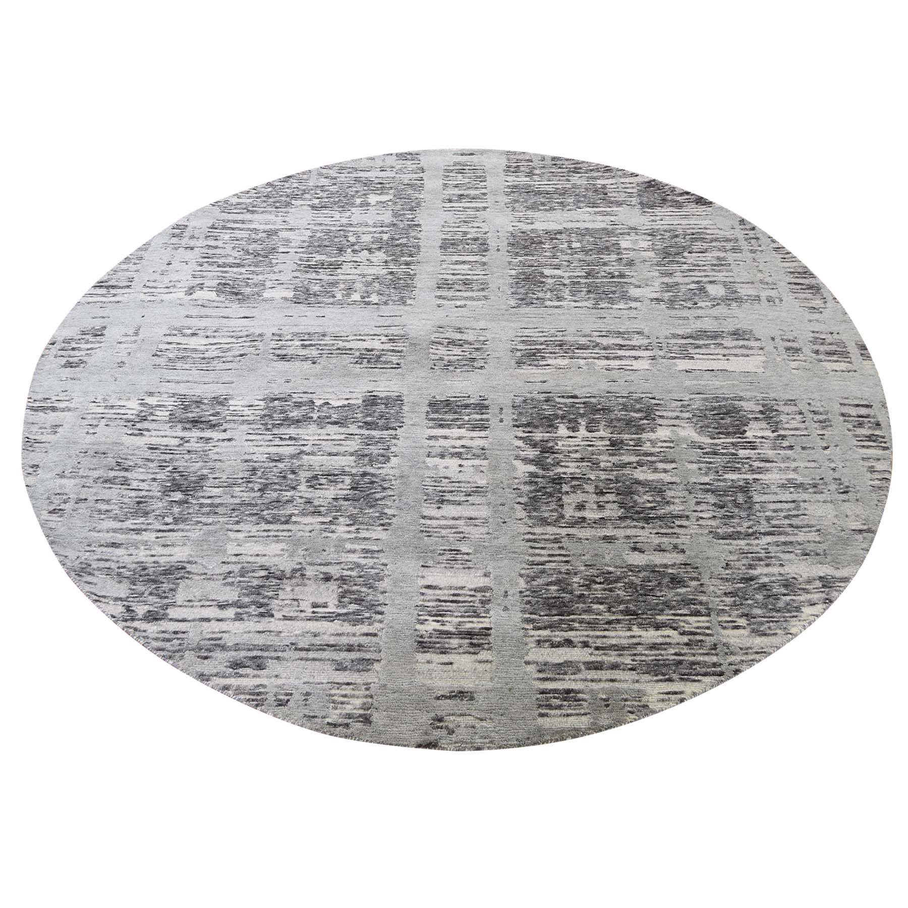 Mid Century Modern Collection Hand Knotted Grey Rug No: 191332
