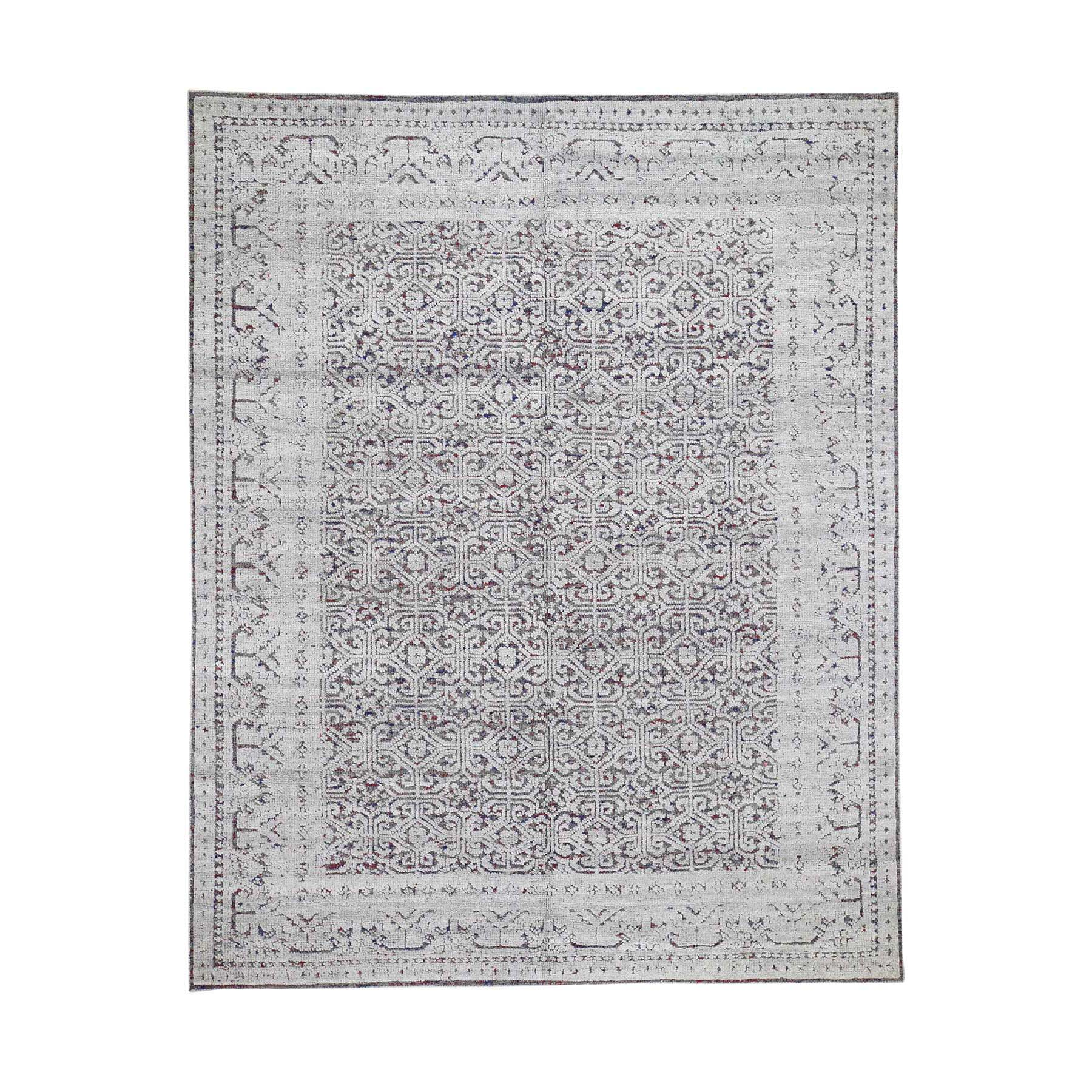One of a kind Collection Hand Knotted Grey Rug No: 0191526