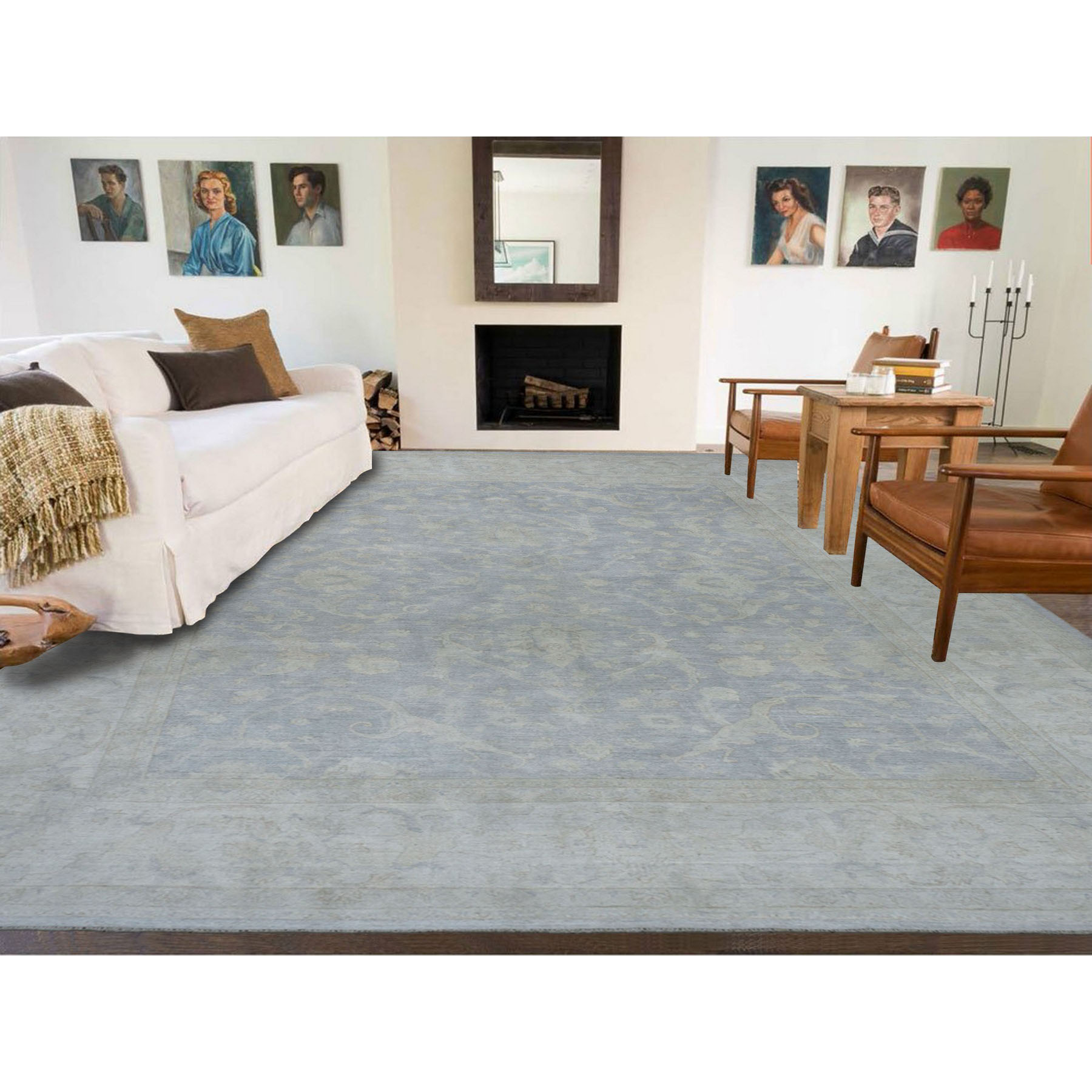 Agra And Turkish Collection Hand Knotted Blue 01101272 Rug