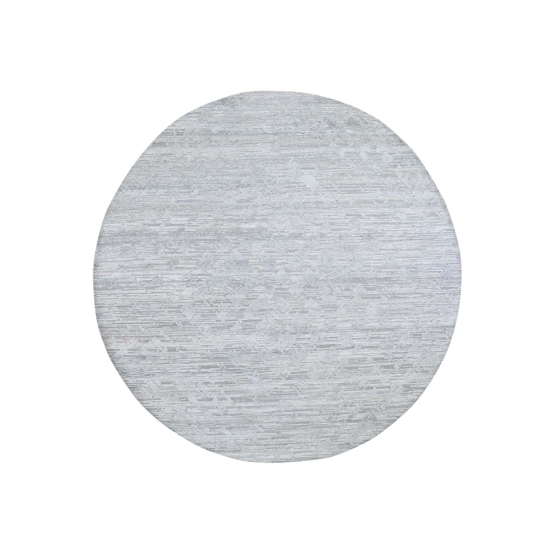 Mid Century Modern Collection Hand Knotted Grey Rug No: 0191392