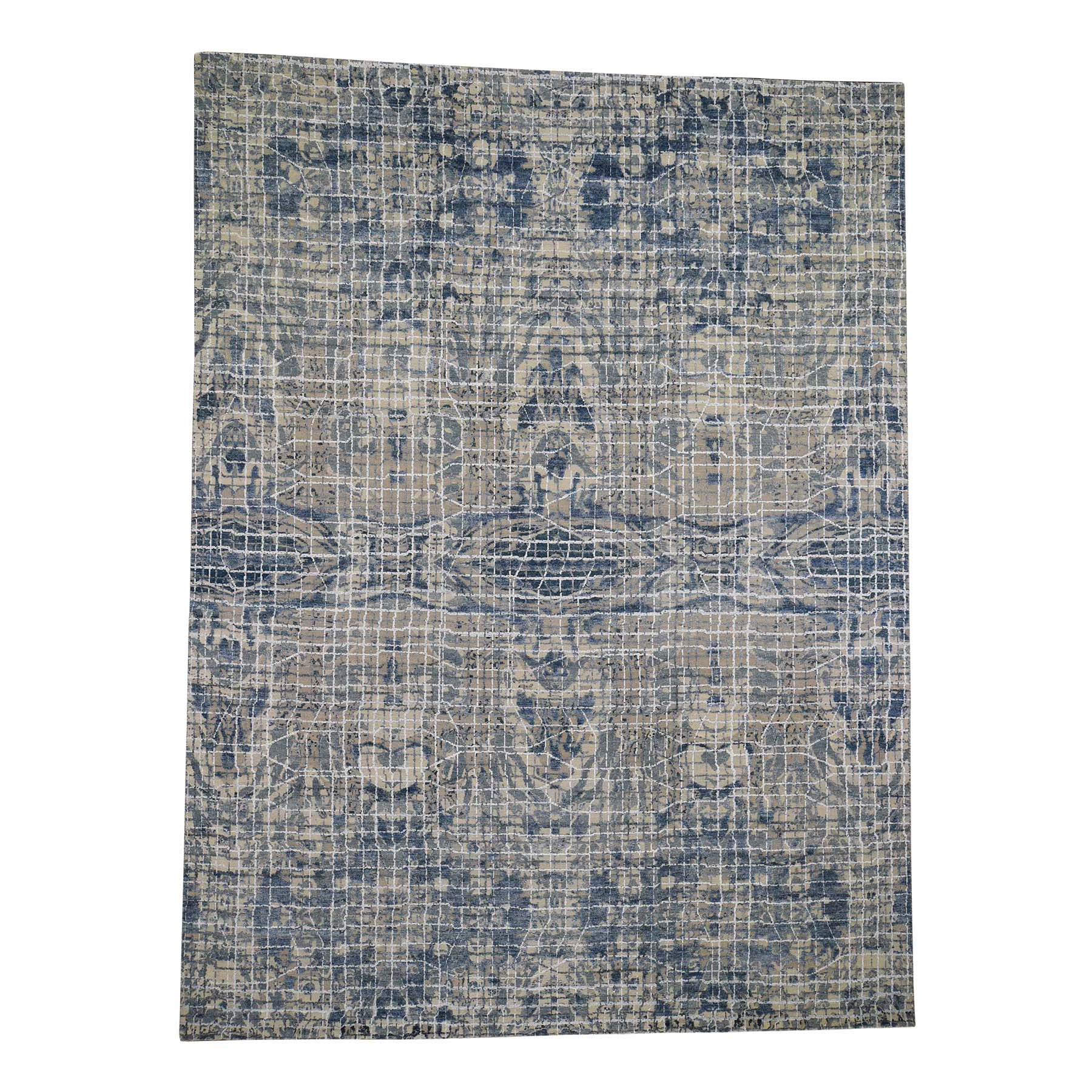 Mid Century Modern Collection Hand Knotted Teal Rug No: 0191434