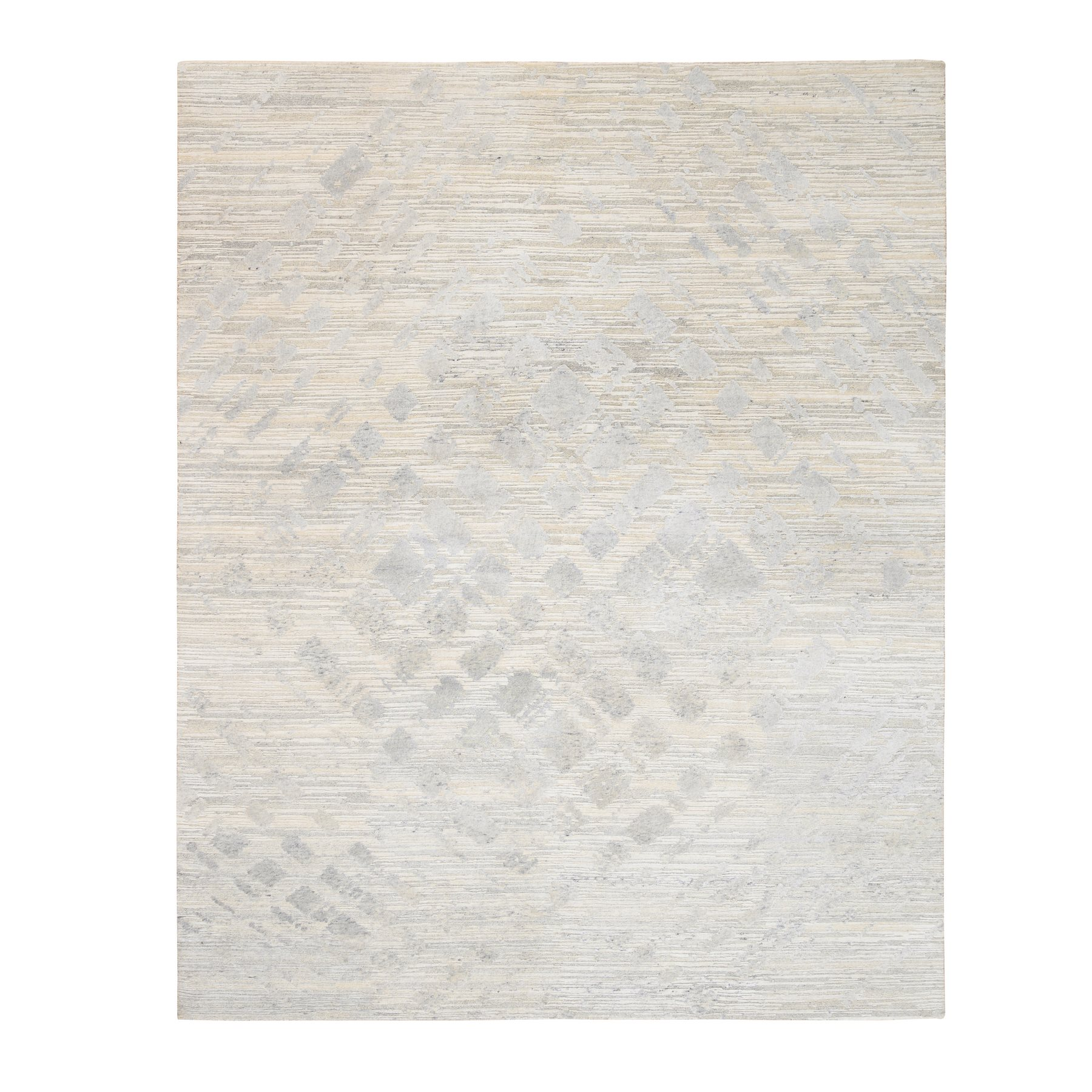 Mid Century Modern Collection Hand Knotted Ivory Rug No: 1126740