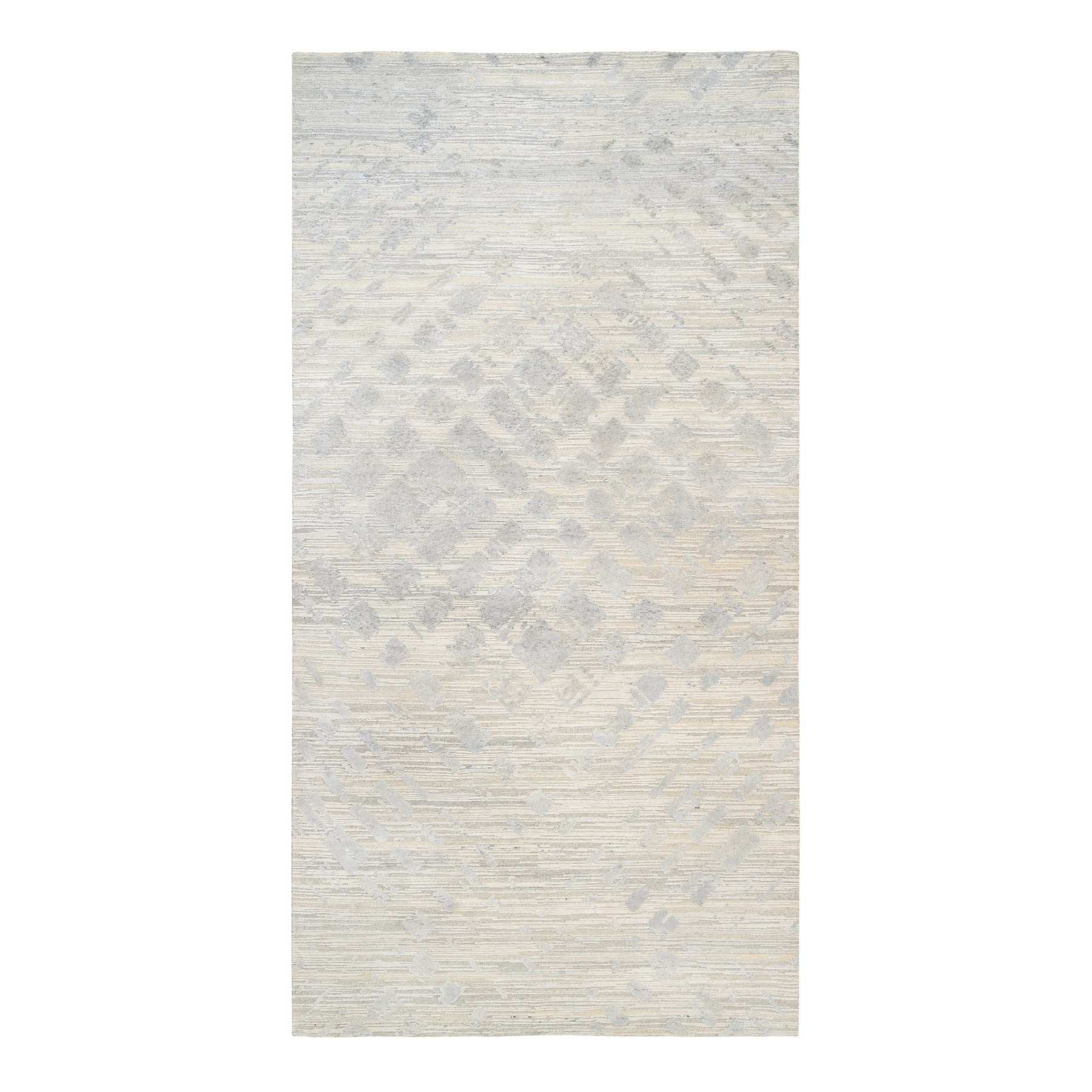 Mid Century Modern Collection Hand Knotted Ivory Rug No: 1126742