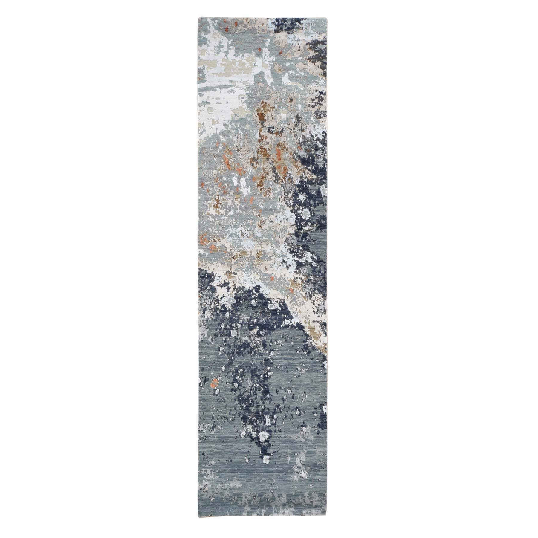 Mid Century Modern Collection Hand Knotted Grey Rug No: 1133728