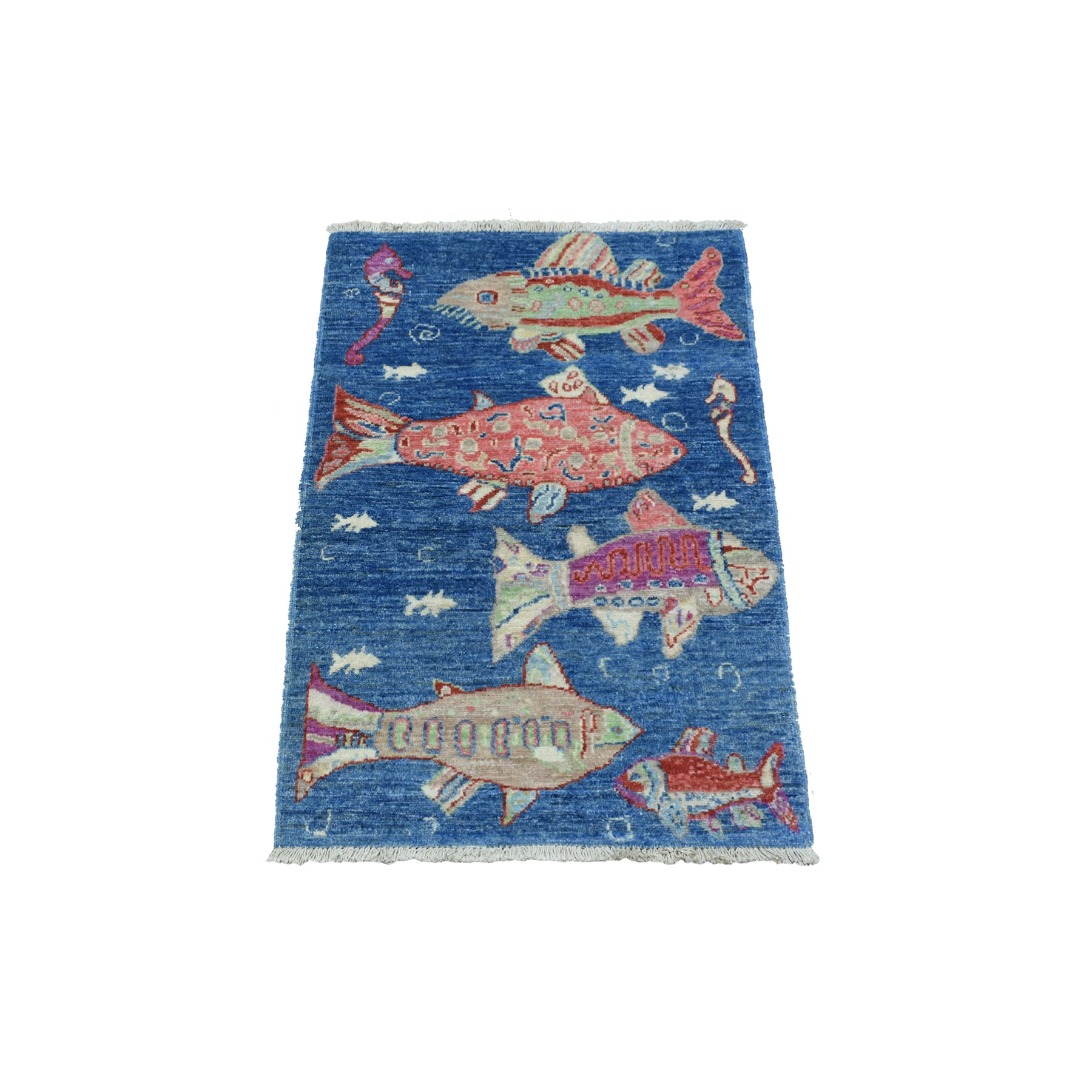 Mid Century Modern Collection Hand Knotted Blue Rug No: 1139100