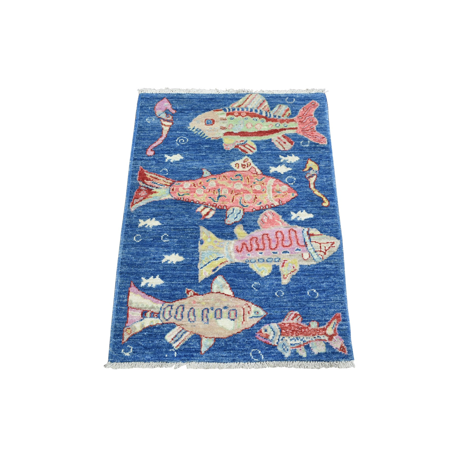 Mid Century Modern Collection Hand Knotted Blue Rug No: 1139102