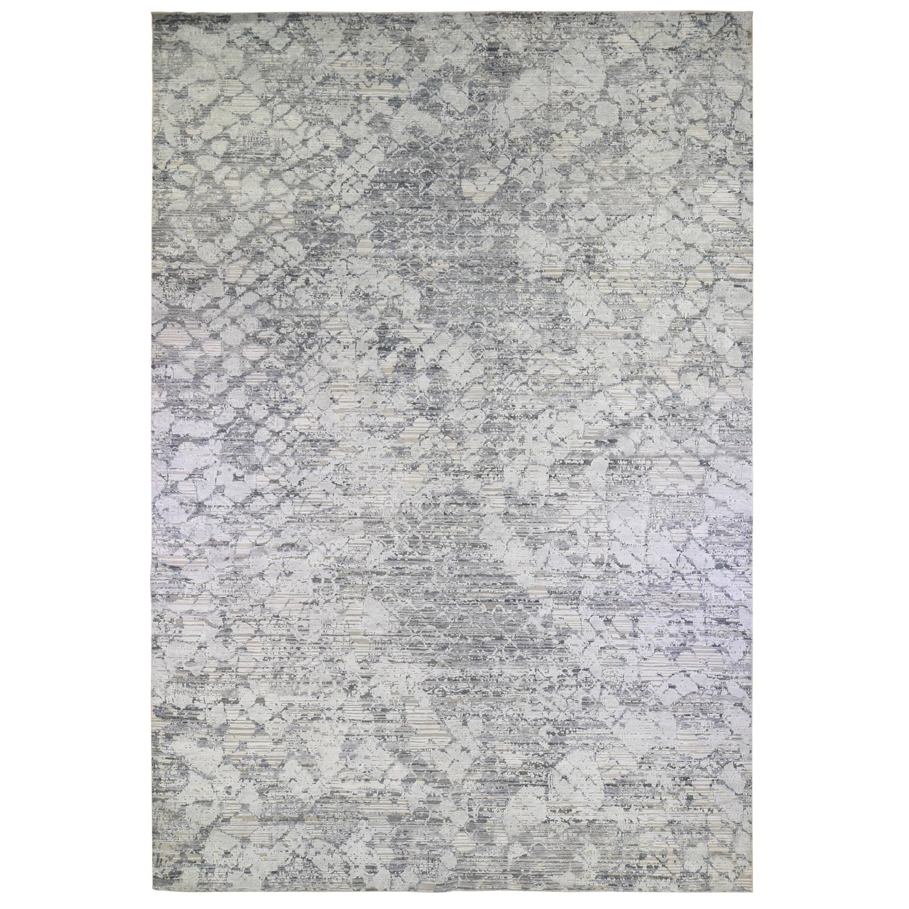 Mid Century Modern Collection Hand Knotted Grey Rug No: 1133732