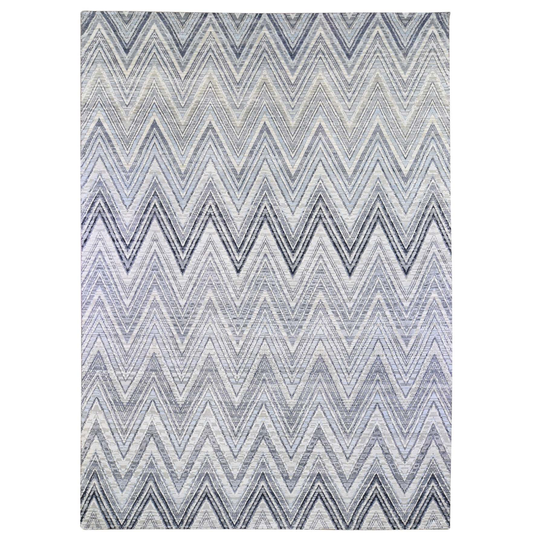 Mid Century Modern Collection Hand Knotted Ivory Rug No: 1133748