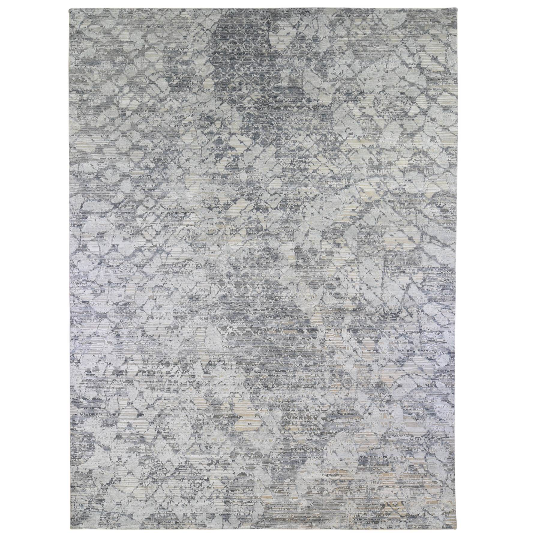 Mid Century Modern Collection Hand Knotted Grey Rug No: 1133750