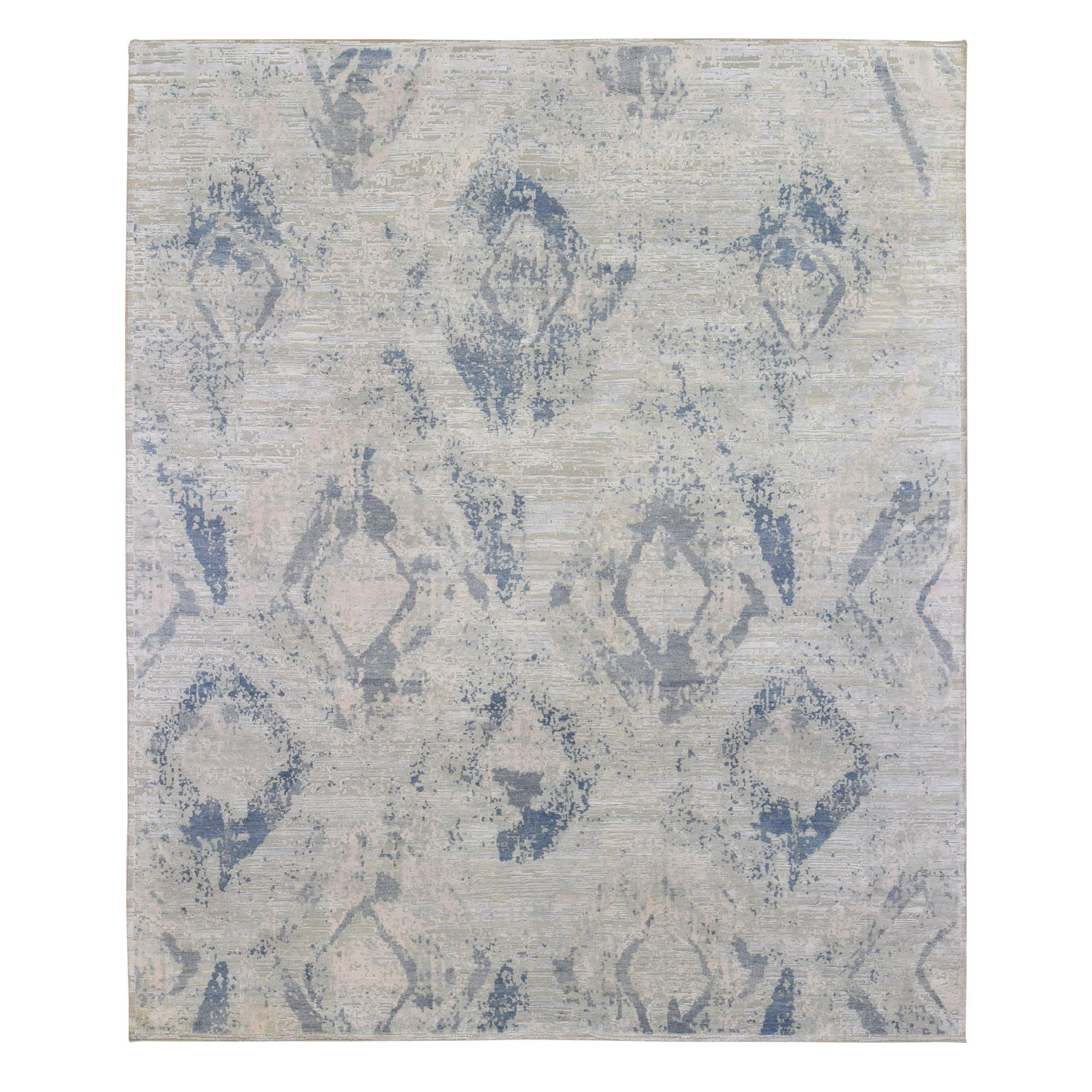 Mid Century Modern Collection Hand Knotted Blue Rug No: 1133768