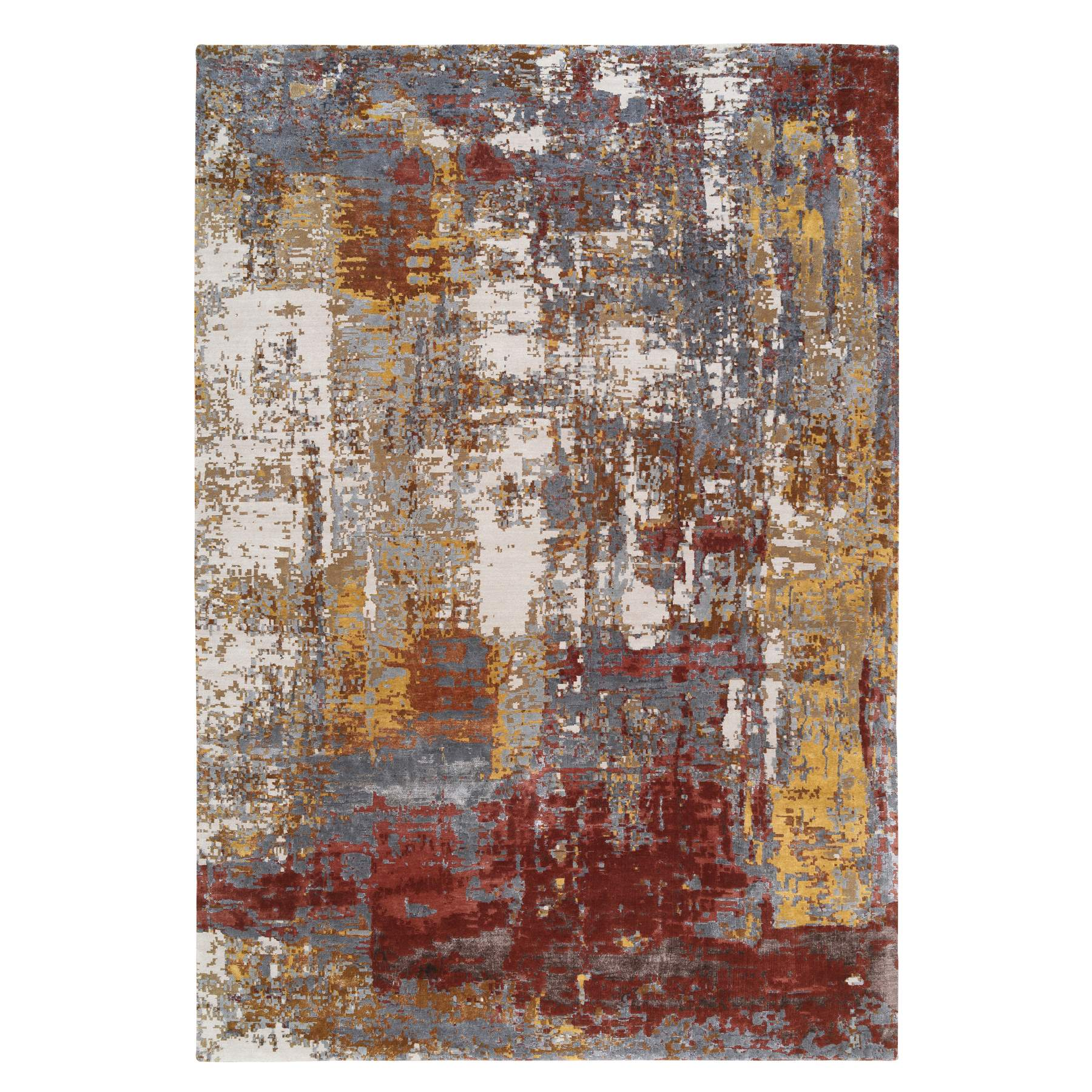 Mid Century Modern Collection Hand Knotted Brown Rug No: 1127034