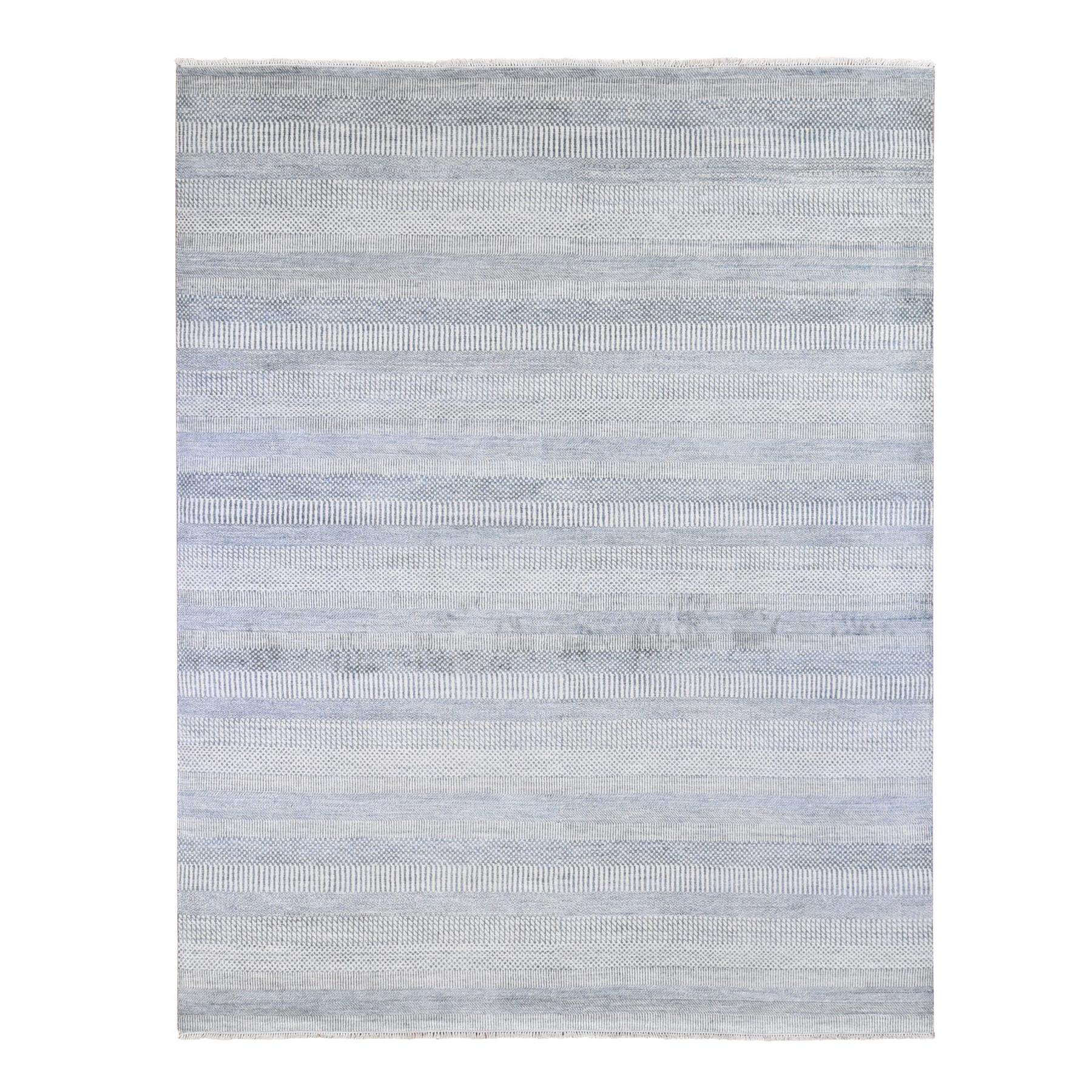 Mid Century Modern Collection Hand Knotted Blue Rug No: 1133778