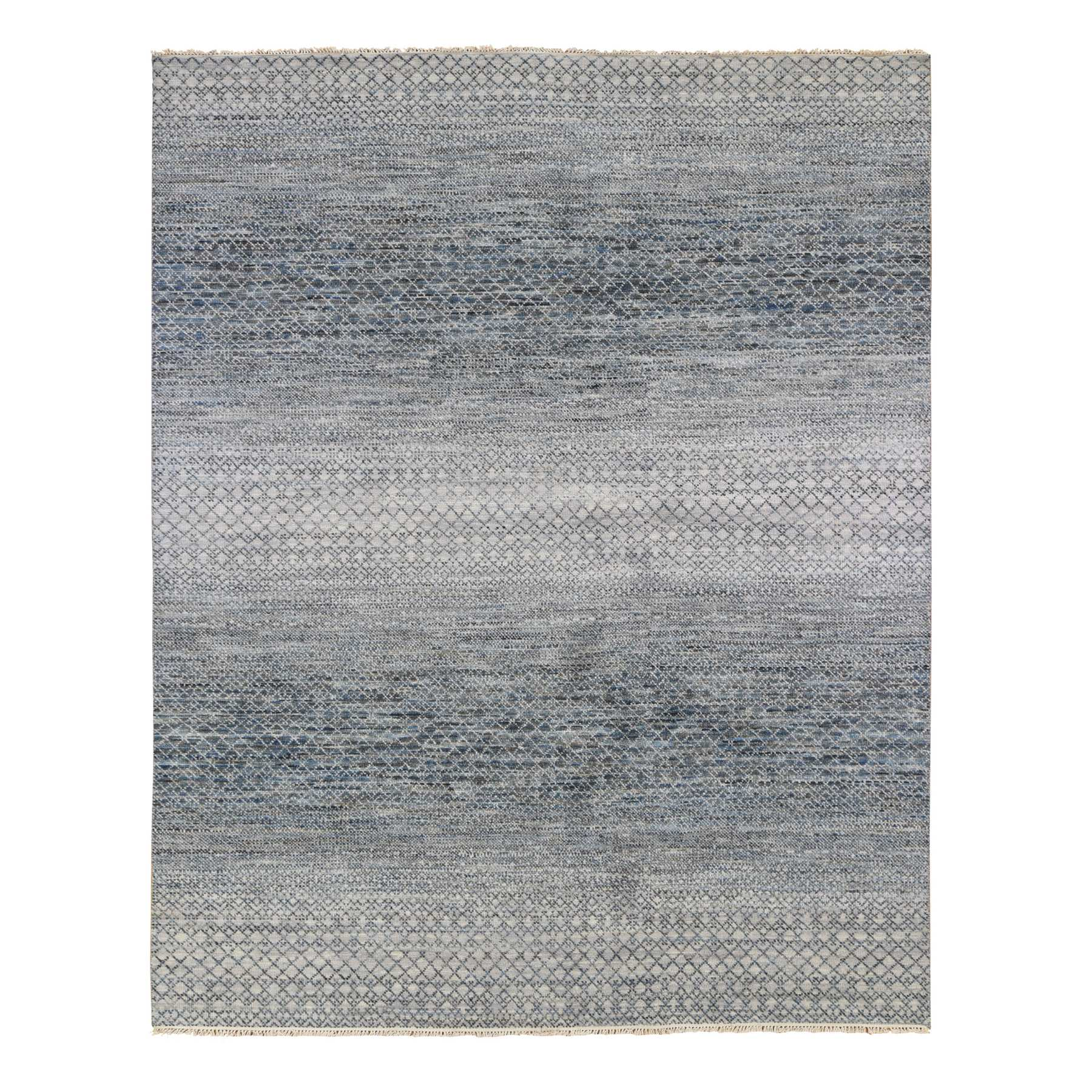Mid Century Modern Collection Hand Knotted Grey Rug No: 1133786