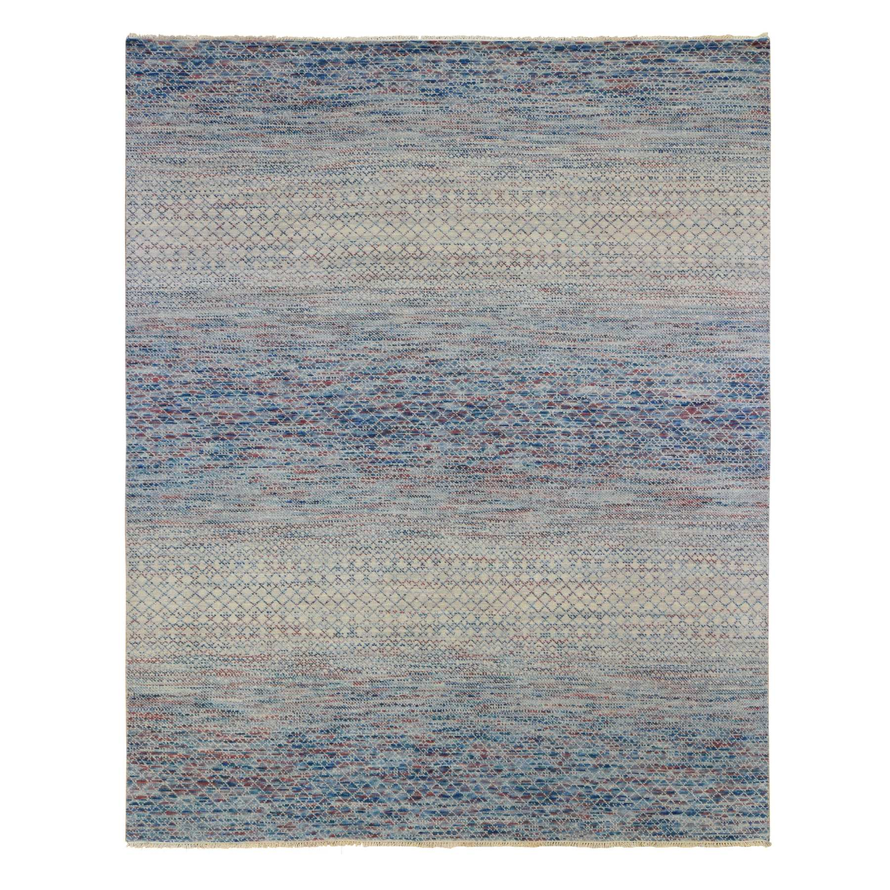 Mid Century Modern Collection Hand Knotted Blue Rug No: 1133790