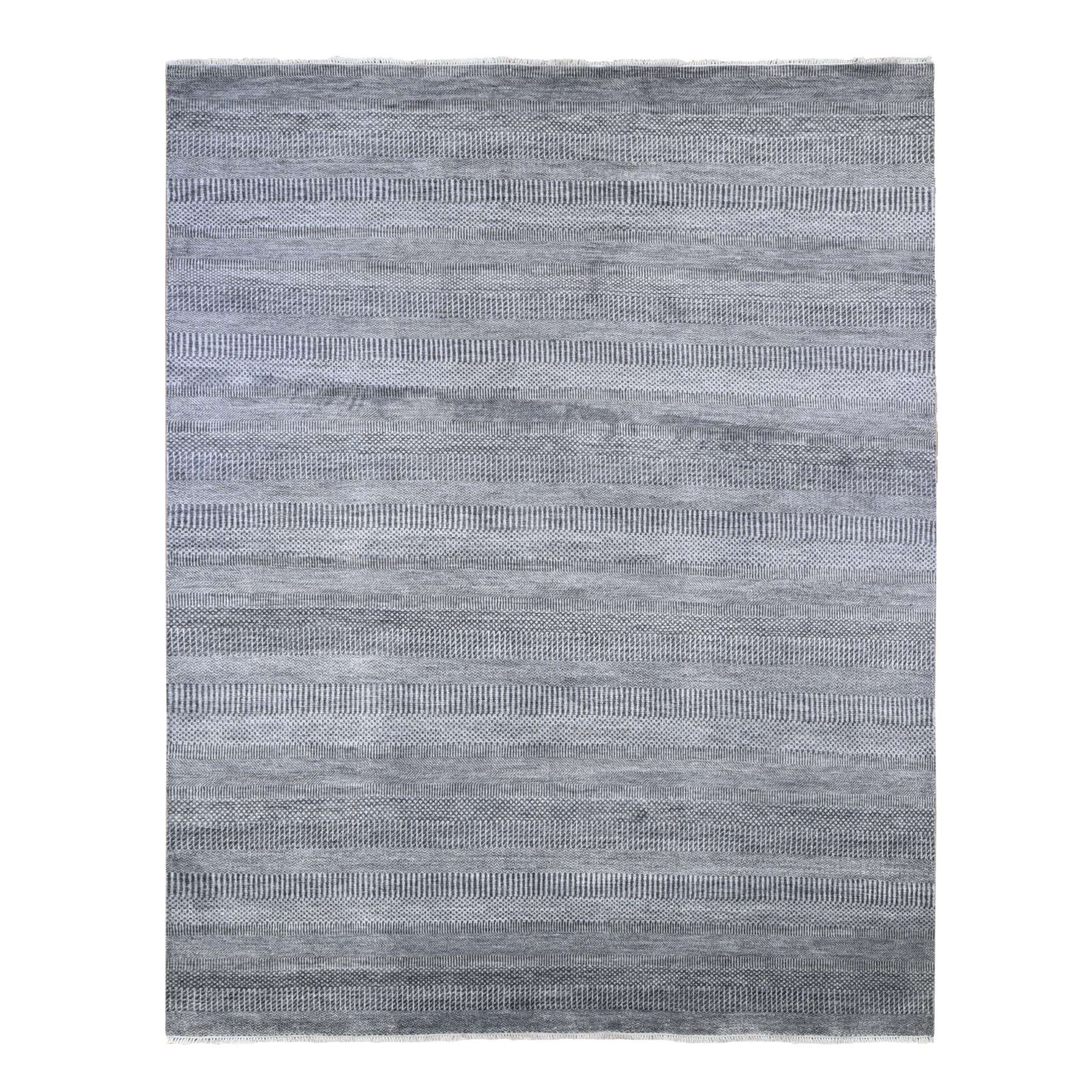 Mid Century Modern Collection Hand Knotted Grey Rug No: 1133782