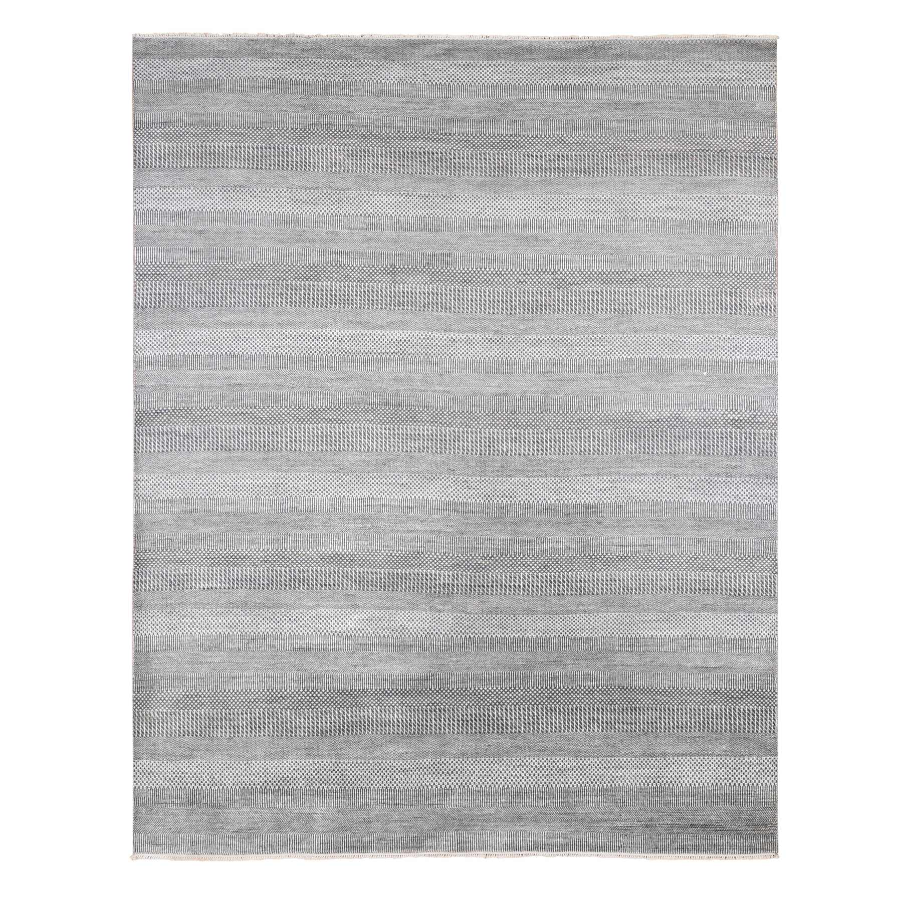Mid Century Modern Collection Hand Knotted Grey Rug No: 1133784