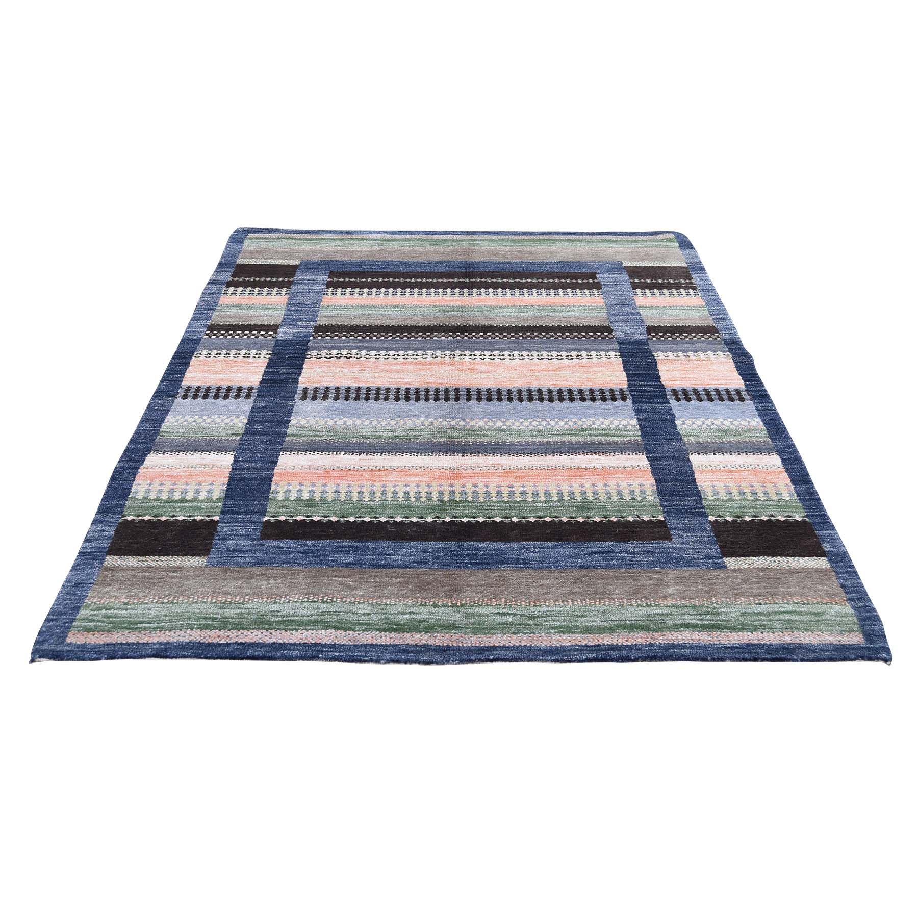 Mid Century Modern Collection Hand Knotted Multicolored Rug No: 0192026