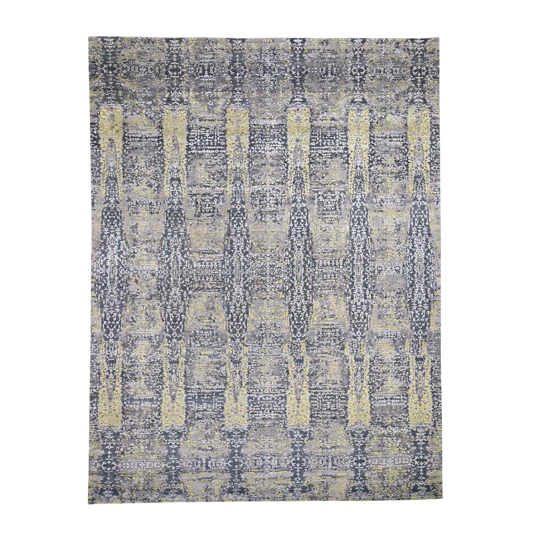 Mid Century Modern Collection Hand Knotted Yellow Rug No: 0192098