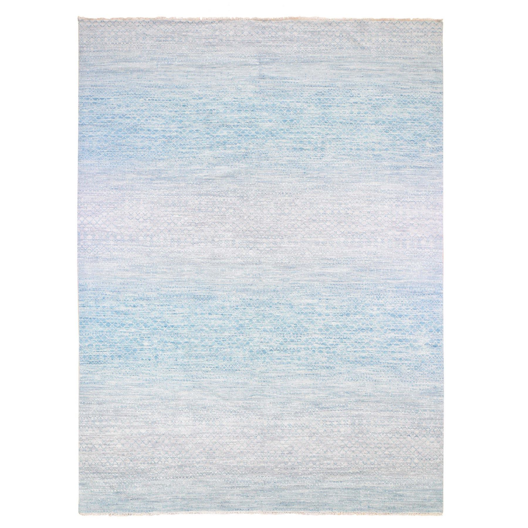 Mid Century Modern Collection Hand Knotted Blue Rug No: 1133888