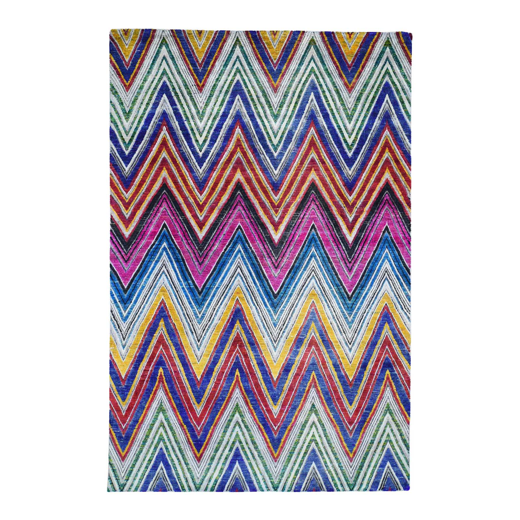 Mid Century Modern Collection Hand Knotted Multicolored Rug No: 0191714