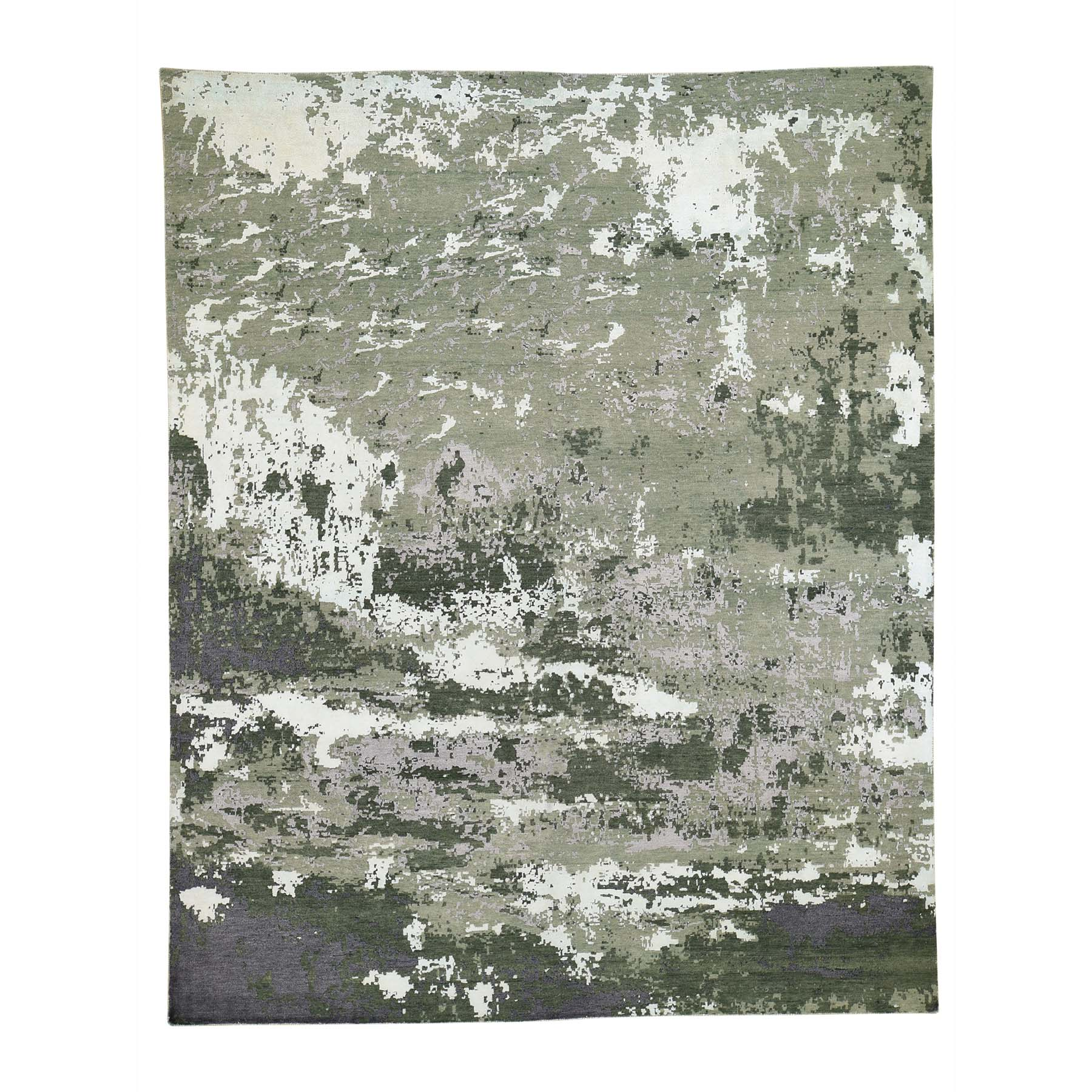 Mid Century Modern Collection Hand Knotted Green Rug No: 0191900
