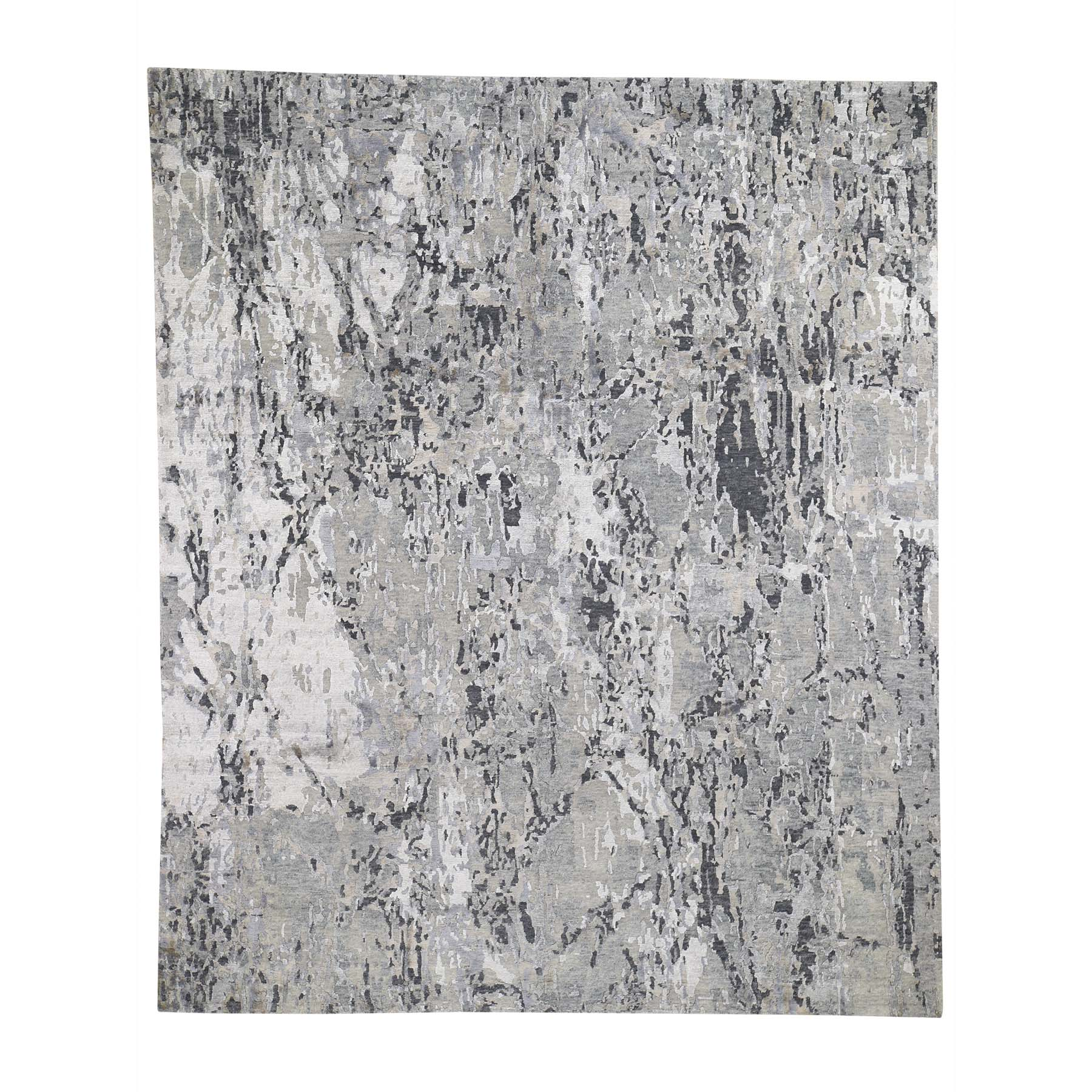 Mid Century Modern Collection Hand Knotted Grey Rug No: 0191910