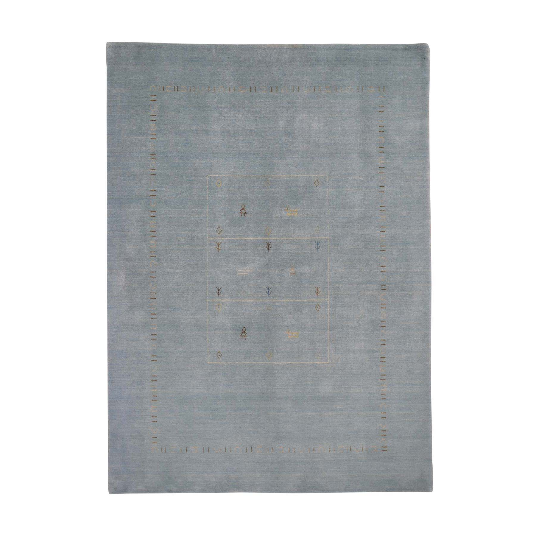 Mid Century Modern Collection Hand Loomed Blue Rug No: 0192066