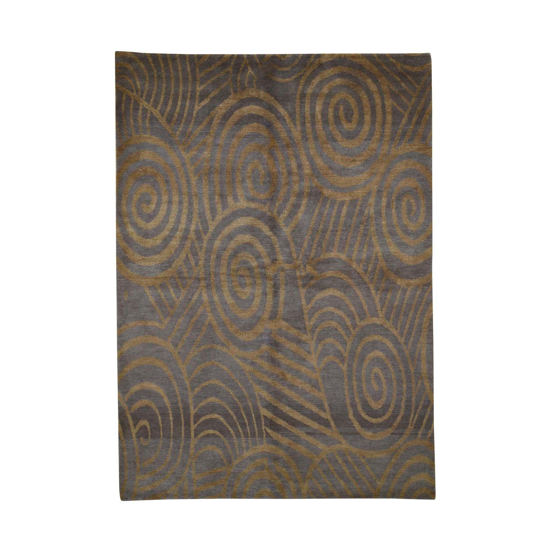 Mid Century Modern Collection Hand Knotted Brown Rug No: 0192072
