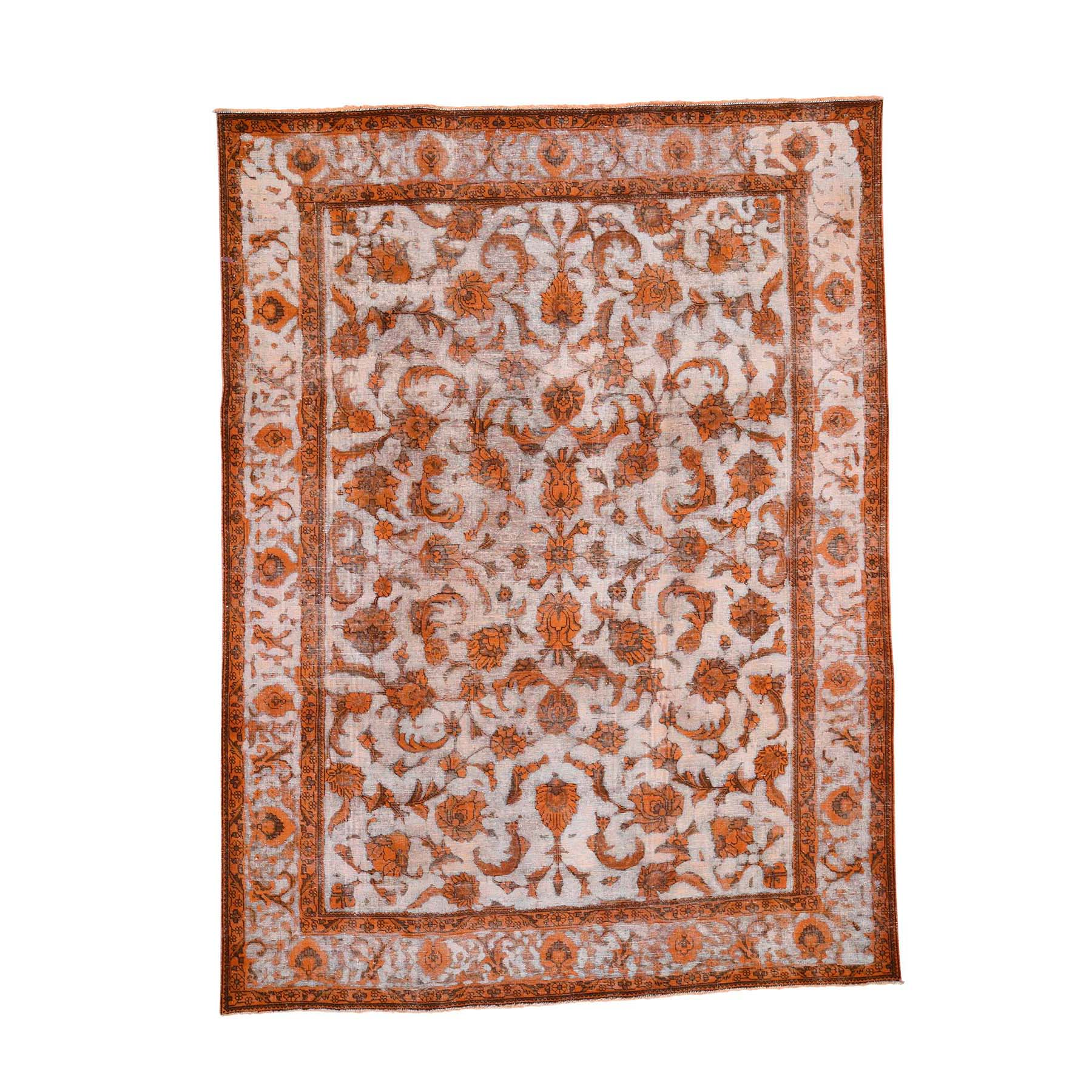 Fetneh Collection And Vintage Overdyed Collection Hand Knotted Orange Rug No: 0192078
